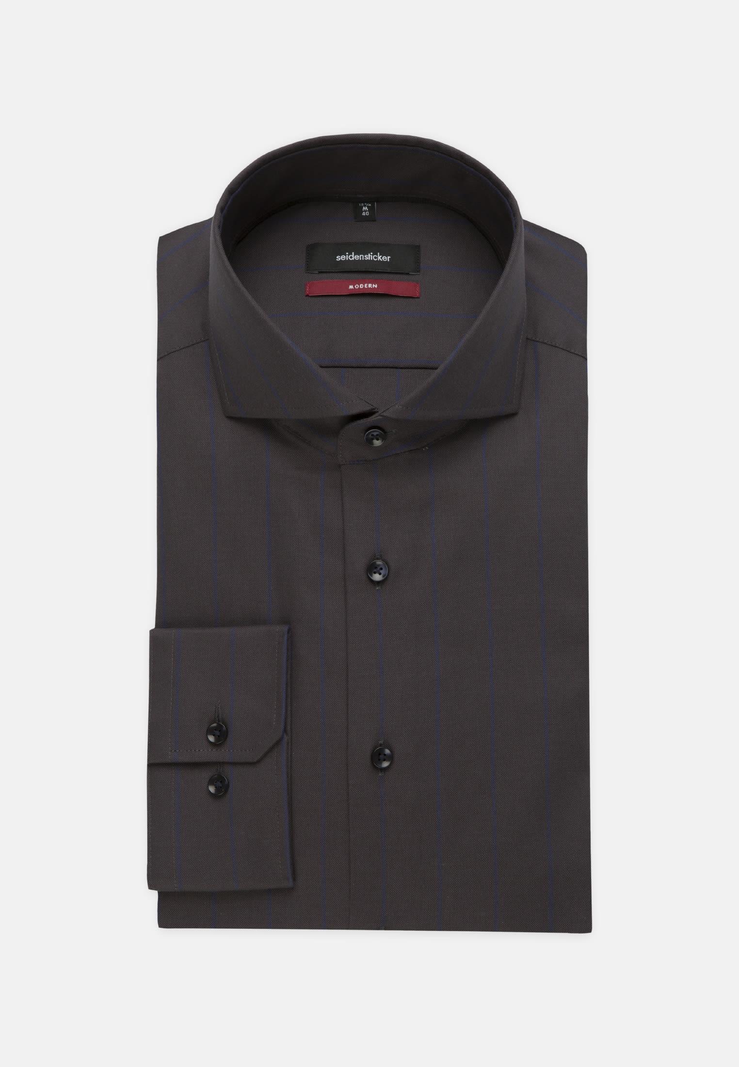 Easy-iron Structure Business Shirt in Modern with Shark Collar in Dark blue    Seidensticker Onlineshop