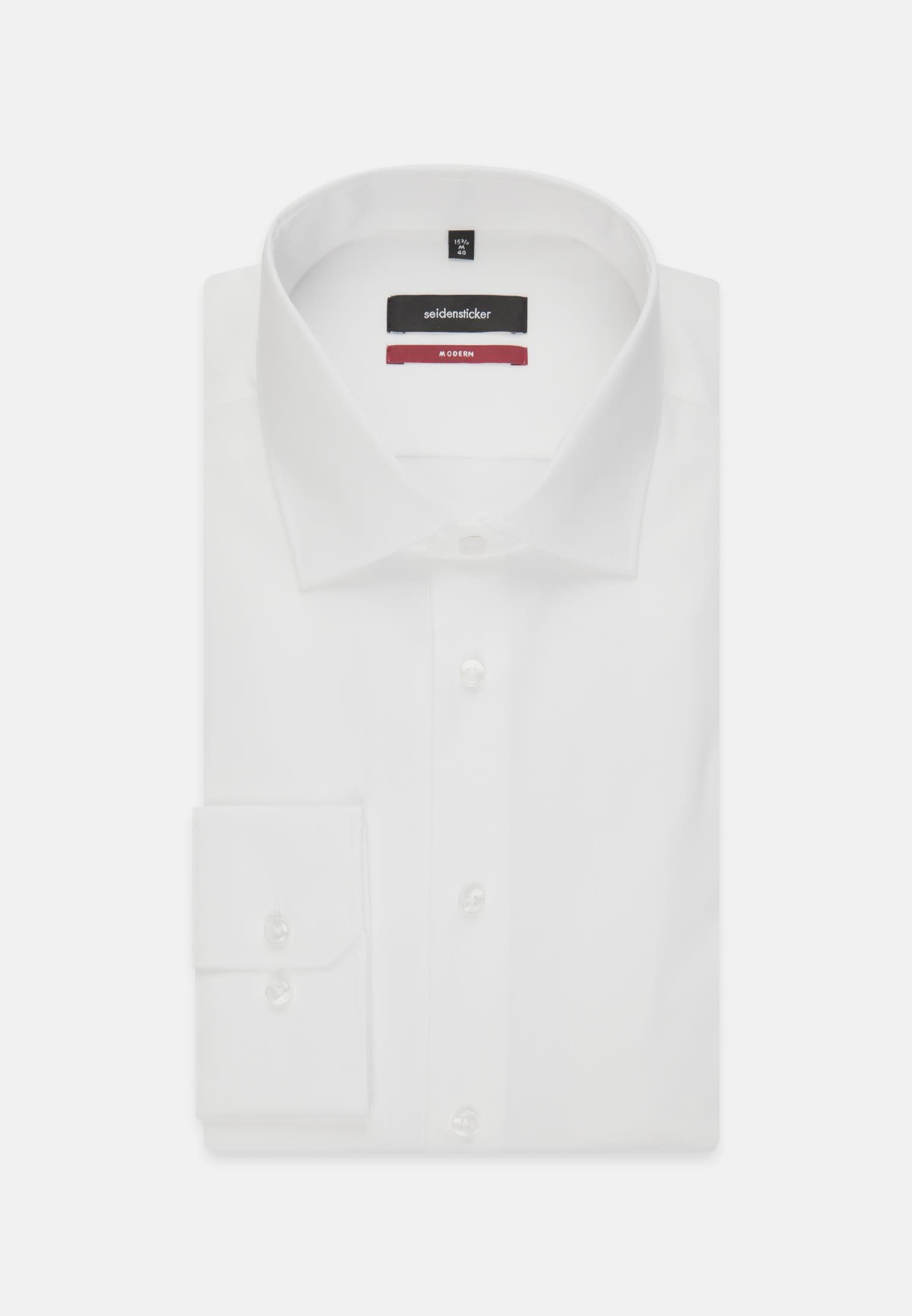 Non-iron Twill Business Shirt in Modern with Kent-Collar in weiß    Seidensticker Onlineshop