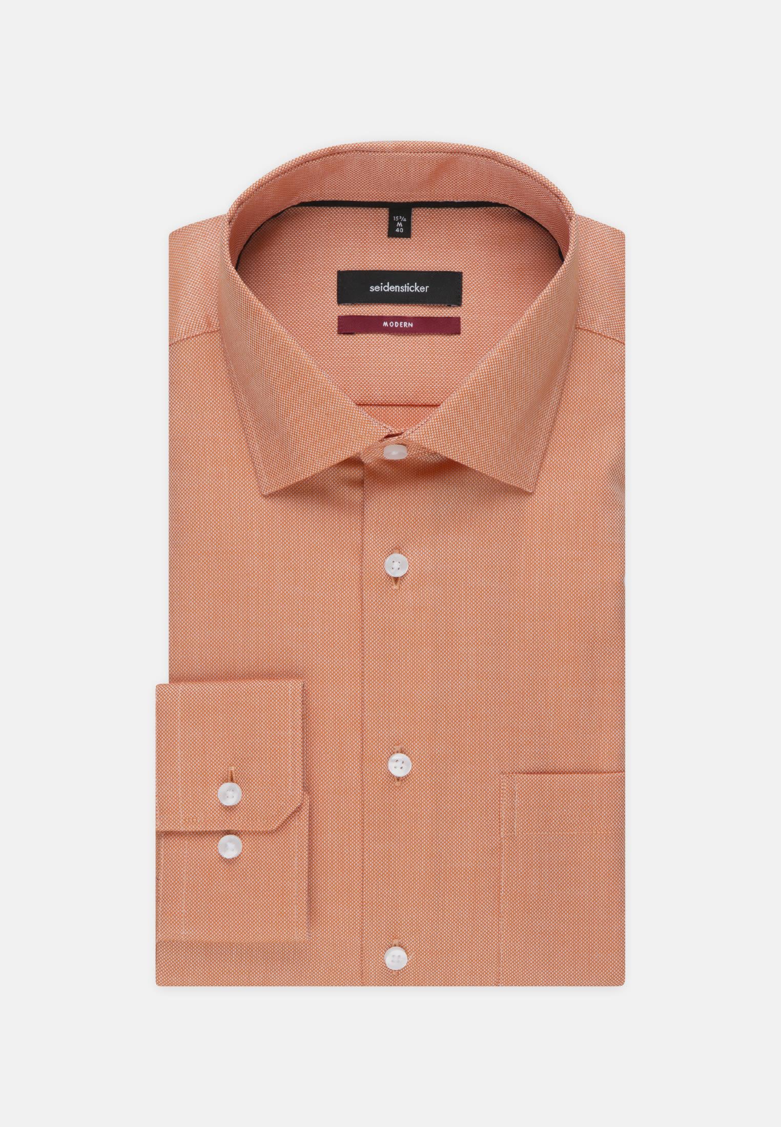Bügelfreies Struktur Business Hemd in Regular mit Kentkragen in Orange    Seidensticker Onlineshop