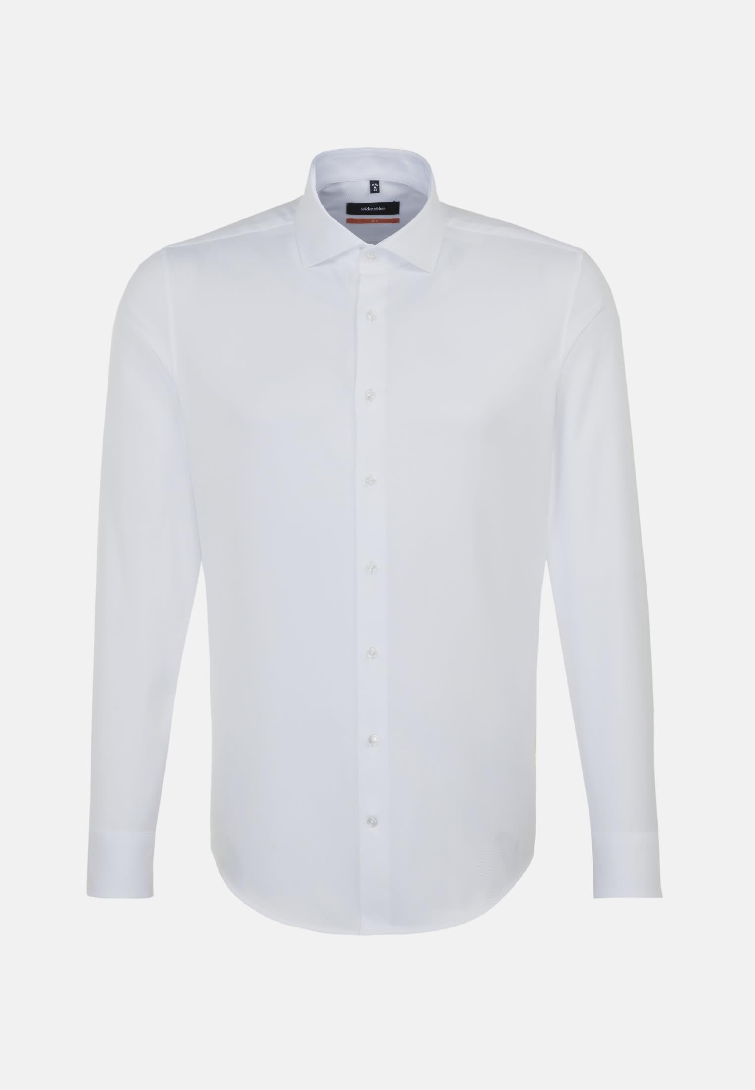 Easy-iron Twill Business Shirt in Slim with Kent-Collar in White    Seidensticker Onlineshop