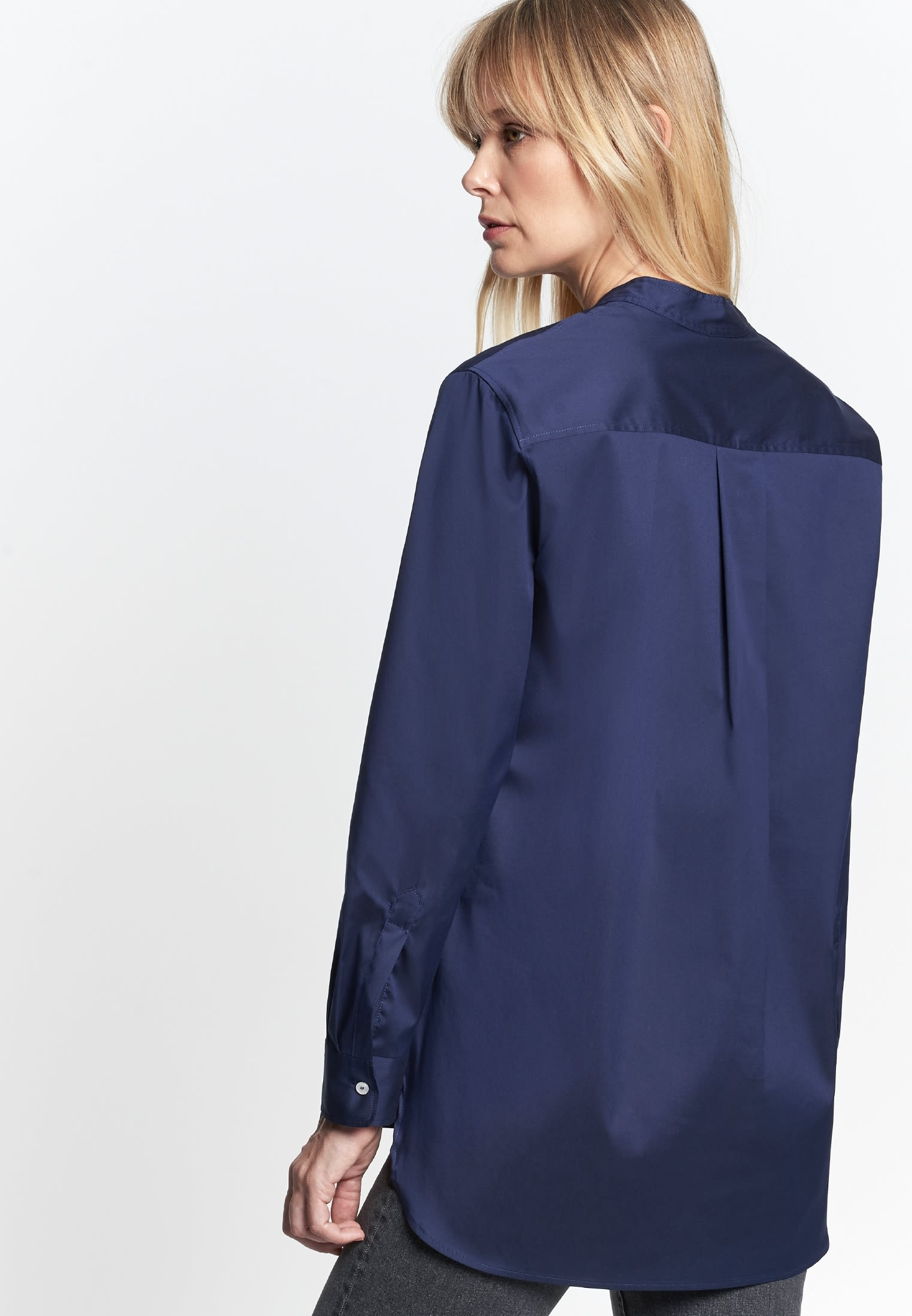 Poplin Slip Over Blouse made of cotton blend in Dark blue |  Seidensticker Onlineshop