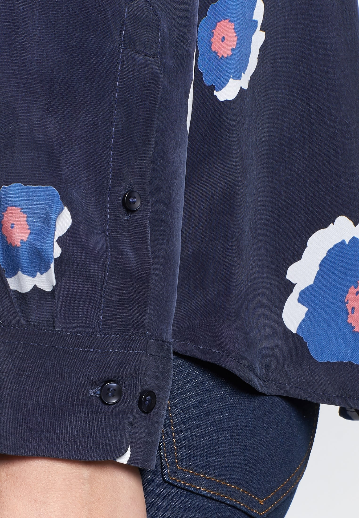 Shirt Blouse made of 100% Cupro in Dark blue |  Seidensticker Onlineshop