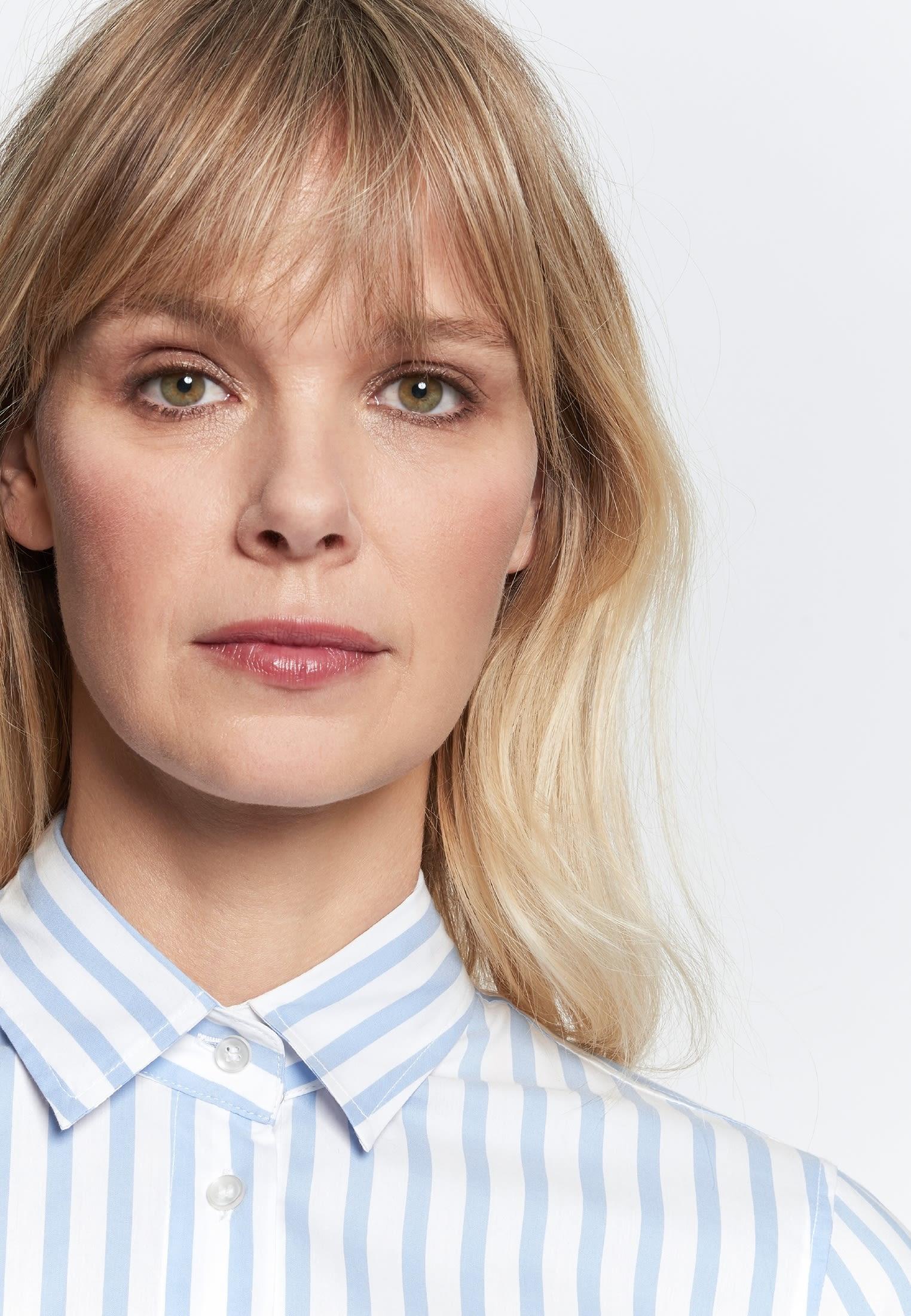 Popeline Midi Kleid aus Baumwollmischung in Hellblau    Seidensticker Onlineshop