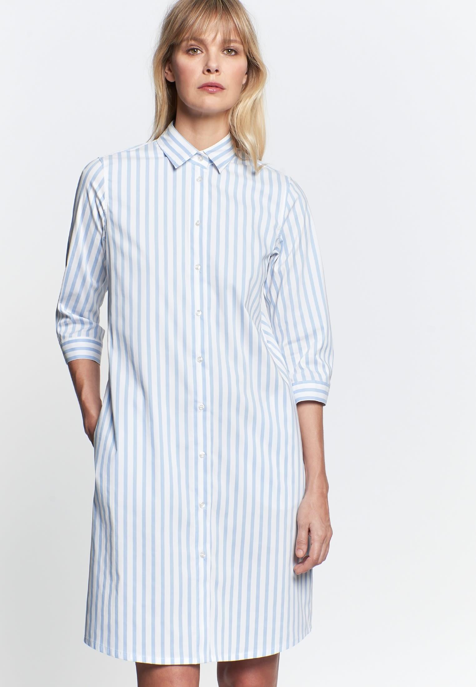 3/4 Arm Popeline Kleid aus 76% Baumwolle 22% Polyamid/Nylon 2% Elastan in Hellblau |  Seidensticker Onlineshop