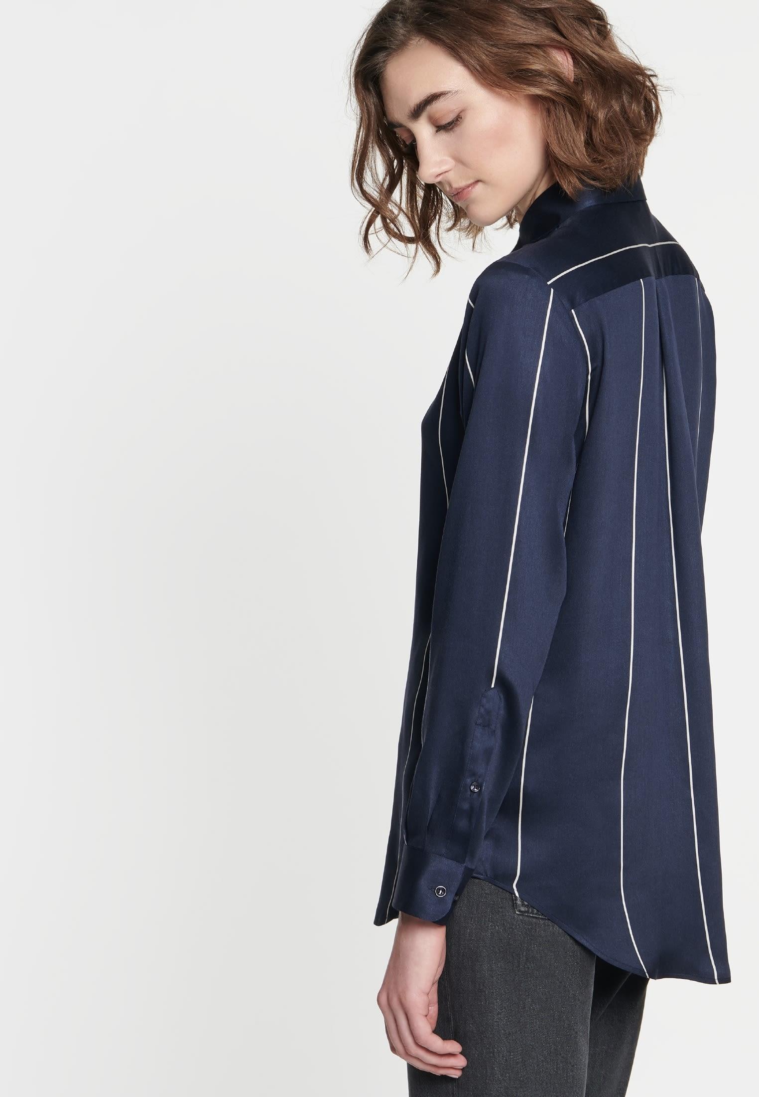 Poplin Shirt Blouse made of 100% Viskose in marine |  Seidensticker Onlineshop