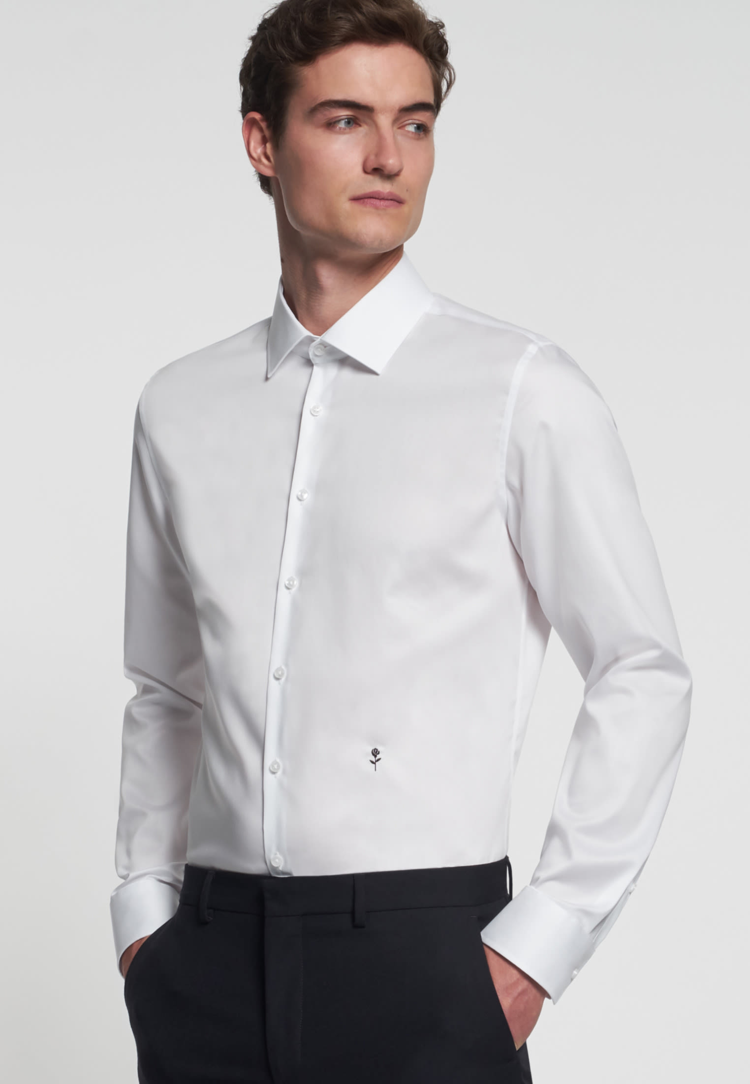 Non-iron Twill Business Shirt in Slim with Kent-Collar in White |  Seidensticker Onlineshop