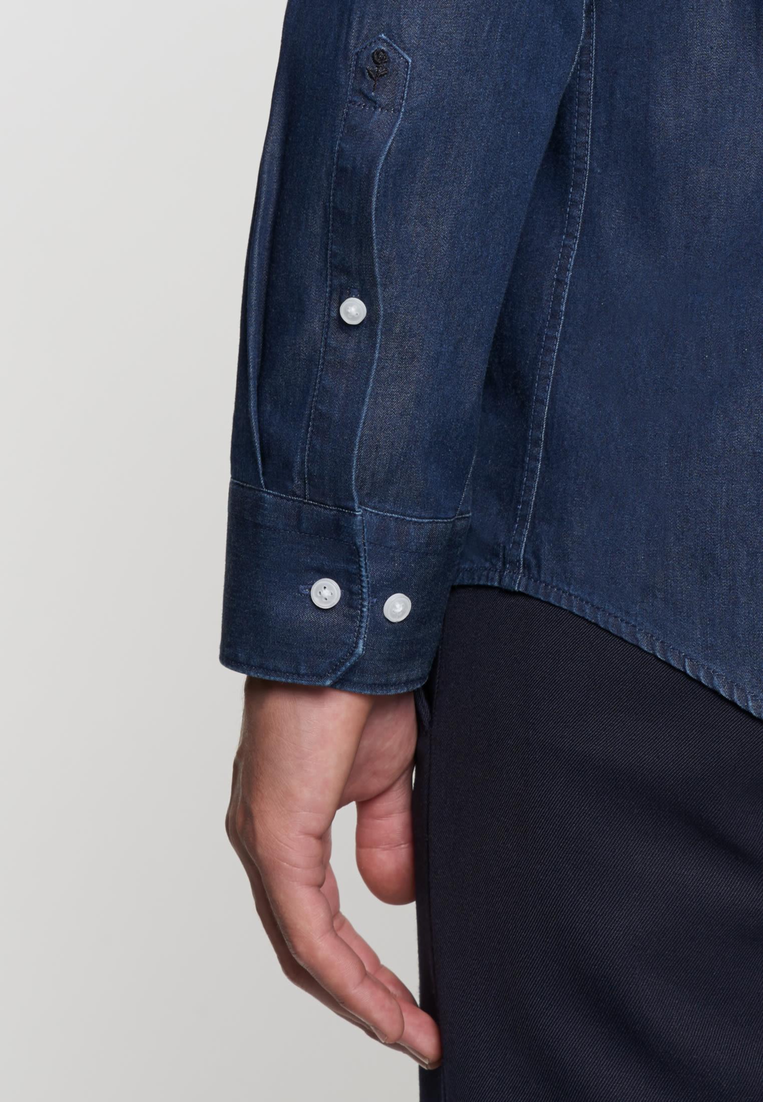 Bügelleichtes Denim Business Hemd in Slim mit Stehkragen in Dunkelblau |  Seidensticker Onlineshop