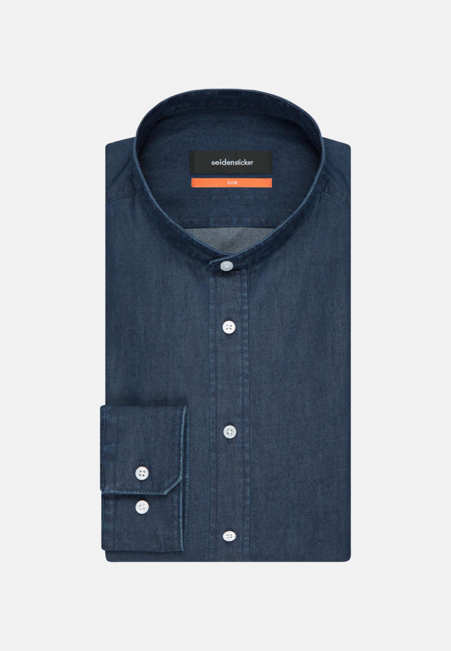 Easy-iron Denim Business Shirt in Slim with Stand-Up Collar in Dark blue |  Seidensticker Onlineshop