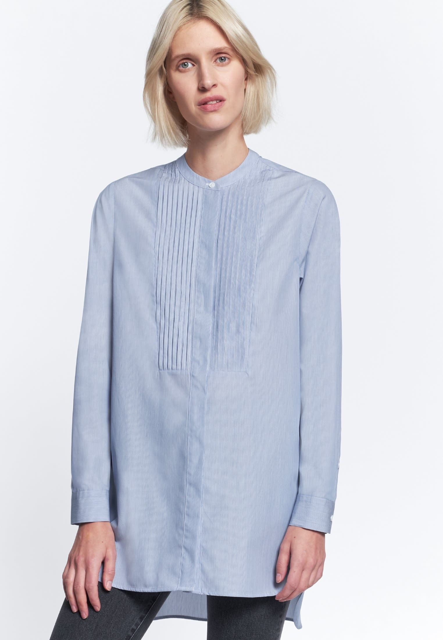 Poplin Long Blouse made of 100% Cotton in Medium blue |  Seidensticker Onlineshop