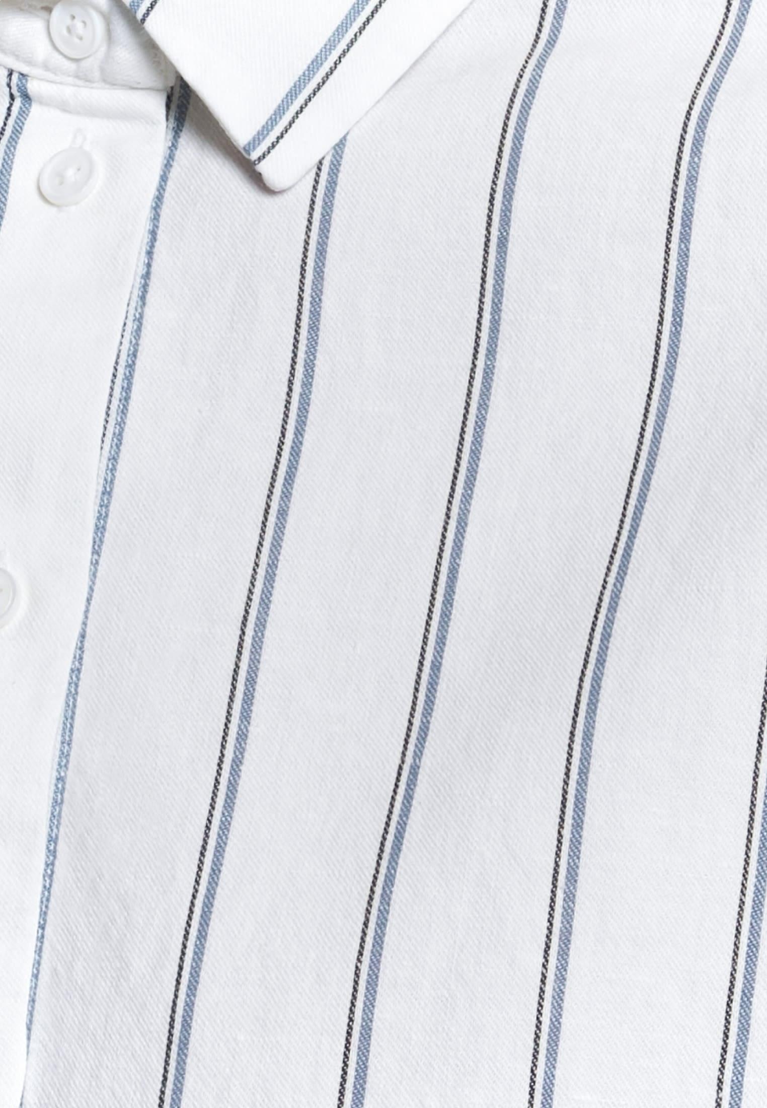Dobby Hemdbluse aus 77% Baumwolle 23% Leinen/Flachs in Mittelblau |  Seidensticker Onlineshop