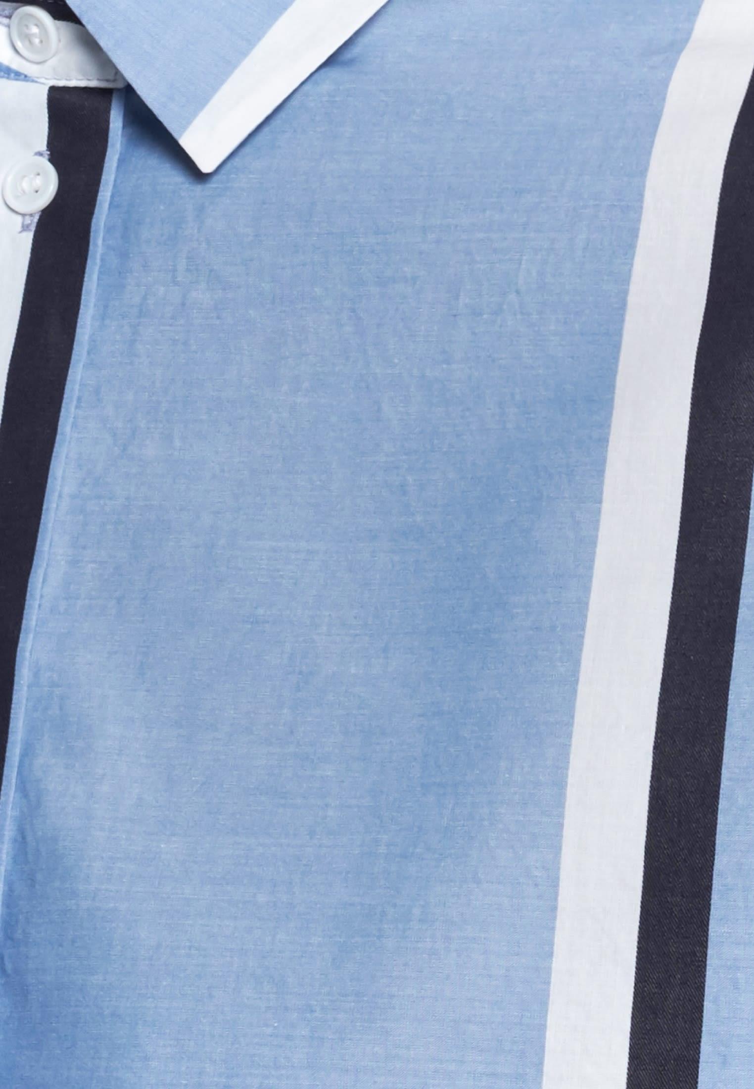 Structure Shirt Blouse made of 100% Cotton in blau    Seidensticker Onlineshop