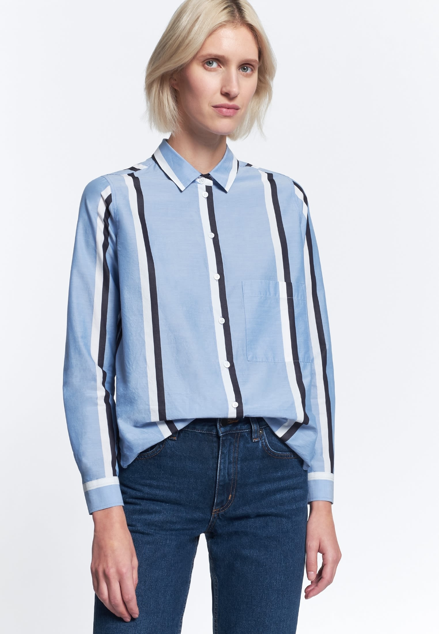 Struktur Hemdbluse aus 100% Baumwolle in Hellblau |  Seidensticker Onlineshop