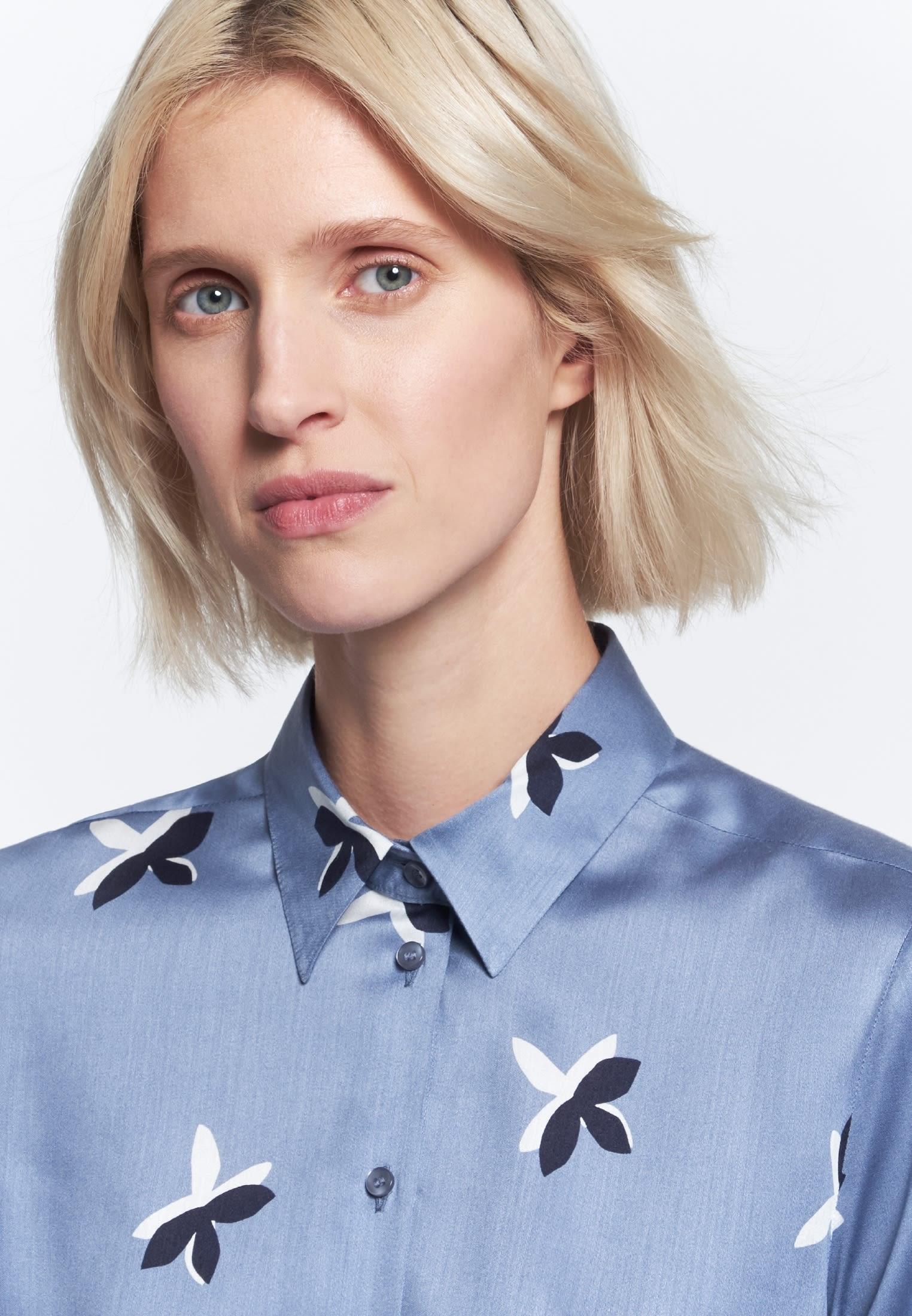 Voile Hemdbluse aus 100% Viskose in Mittelblau    Seidensticker Onlineshop