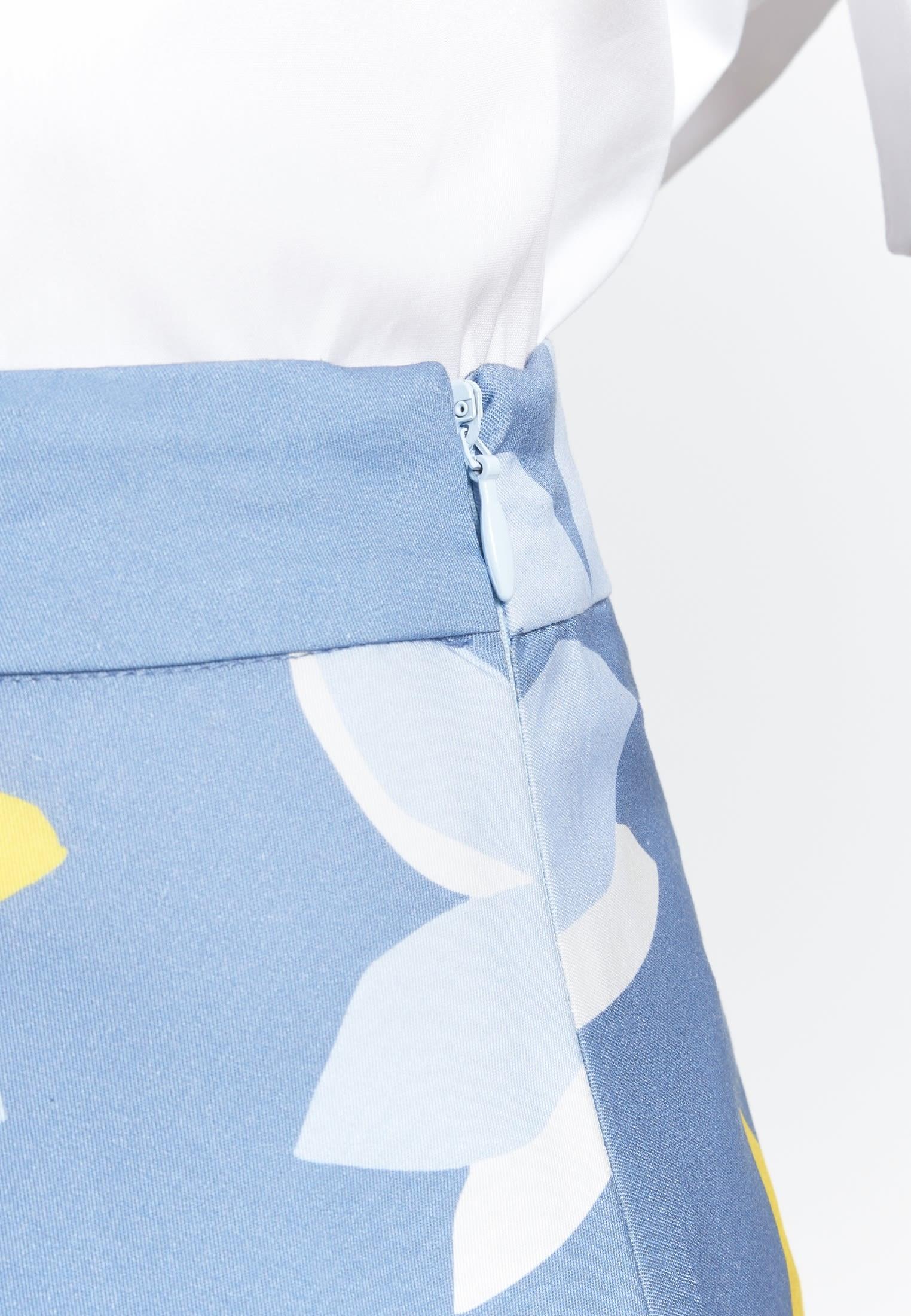 Satin Midi Rock aus 100% Baumwolle in Mittelblau |  Seidensticker Onlineshop