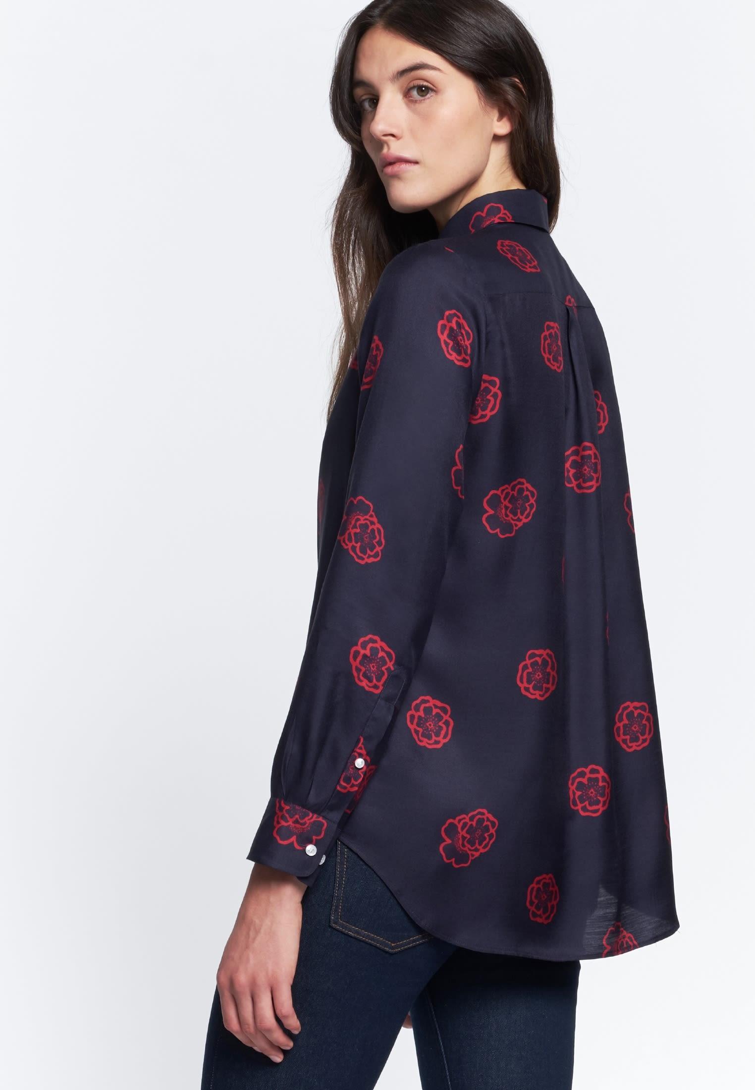 Voile Shirt Blouse made of silk blend in Dark blue |  Seidensticker Onlineshop