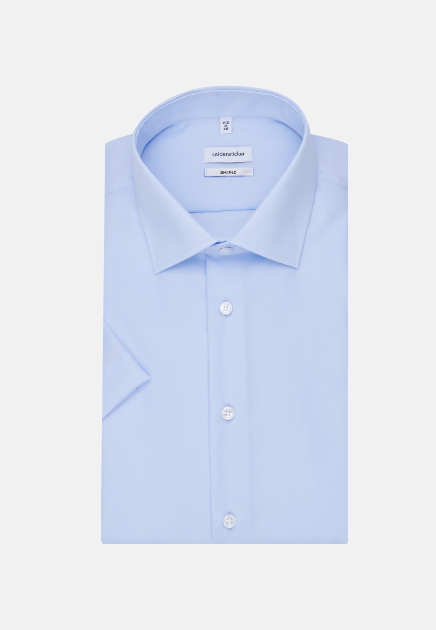 Non-iron Poplin Short sleeve Business Shirt in Shaped with Kent-Collar in Medium blue |  Seidensticker Onlineshop
