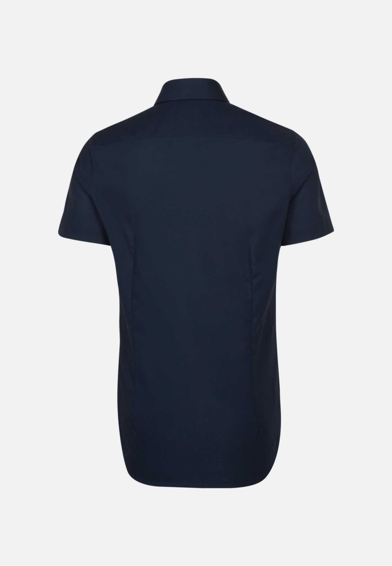 Bügelfreies Popeline Kurzarm Business Hemd in Shaped mit Kentkragen in Dunkelblau |  Seidensticker Onlineshop