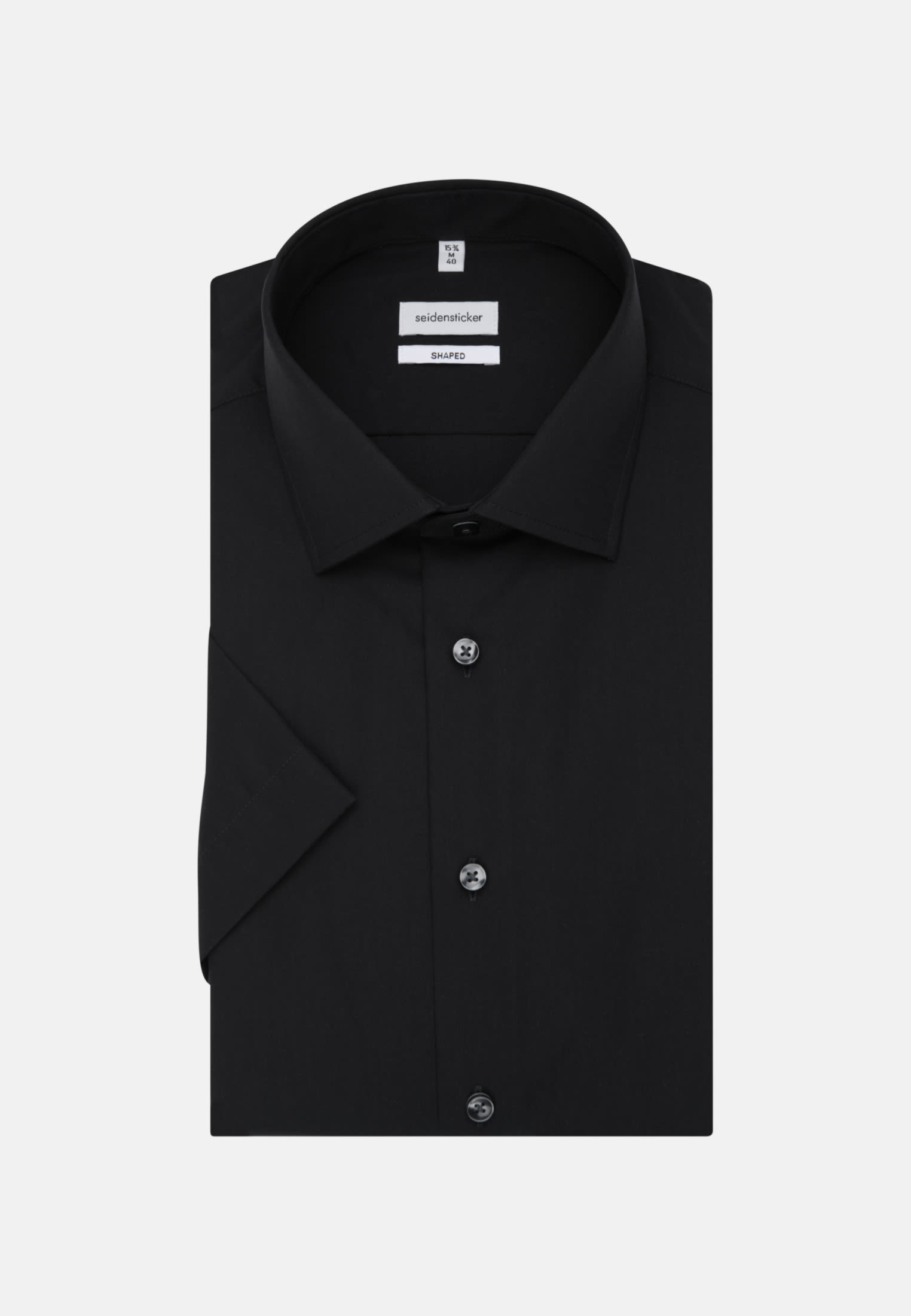 Non-iron Poplin Short sleeve Business Shirt in Shaped with Kent-Collar in Black |  Seidensticker Onlineshop