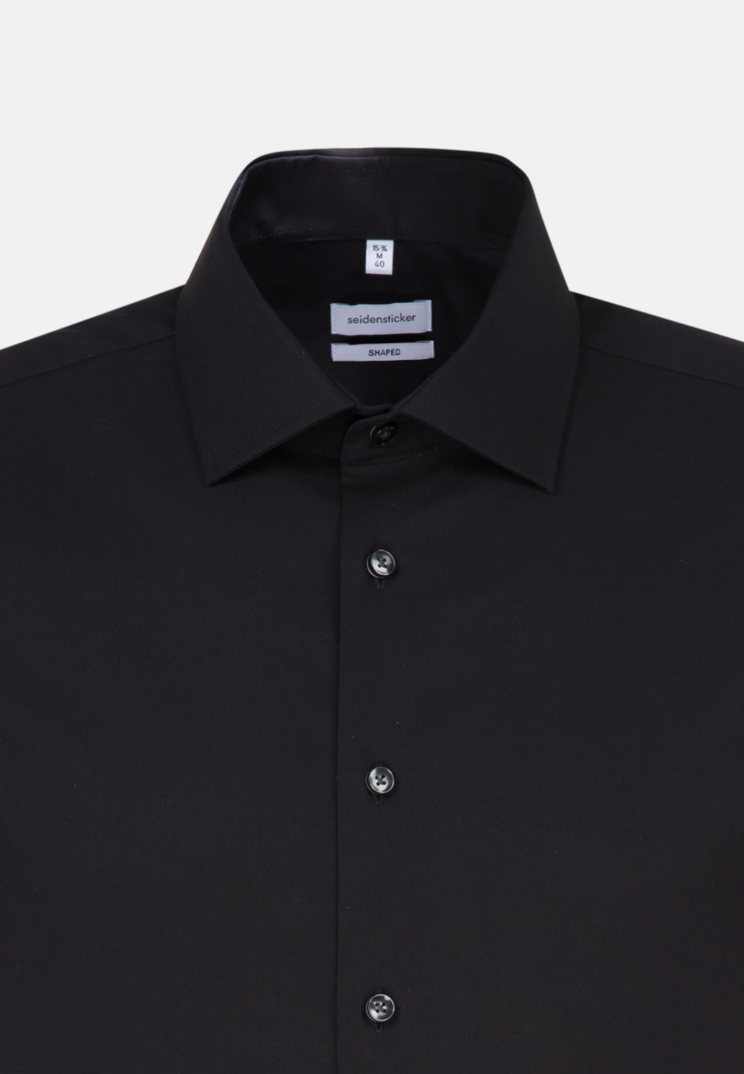 Bügelfreies Popeline Kurzarm Business Hemd in Shaped mit Kentkragen in Schwarz |  Seidensticker Onlineshop