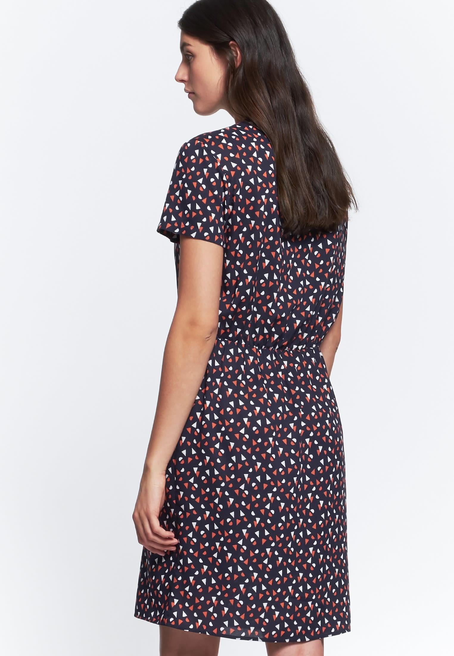 Short arm Poplin Dress made of 100% Viskose in dunkelblau    Seidensticker Onlineshop