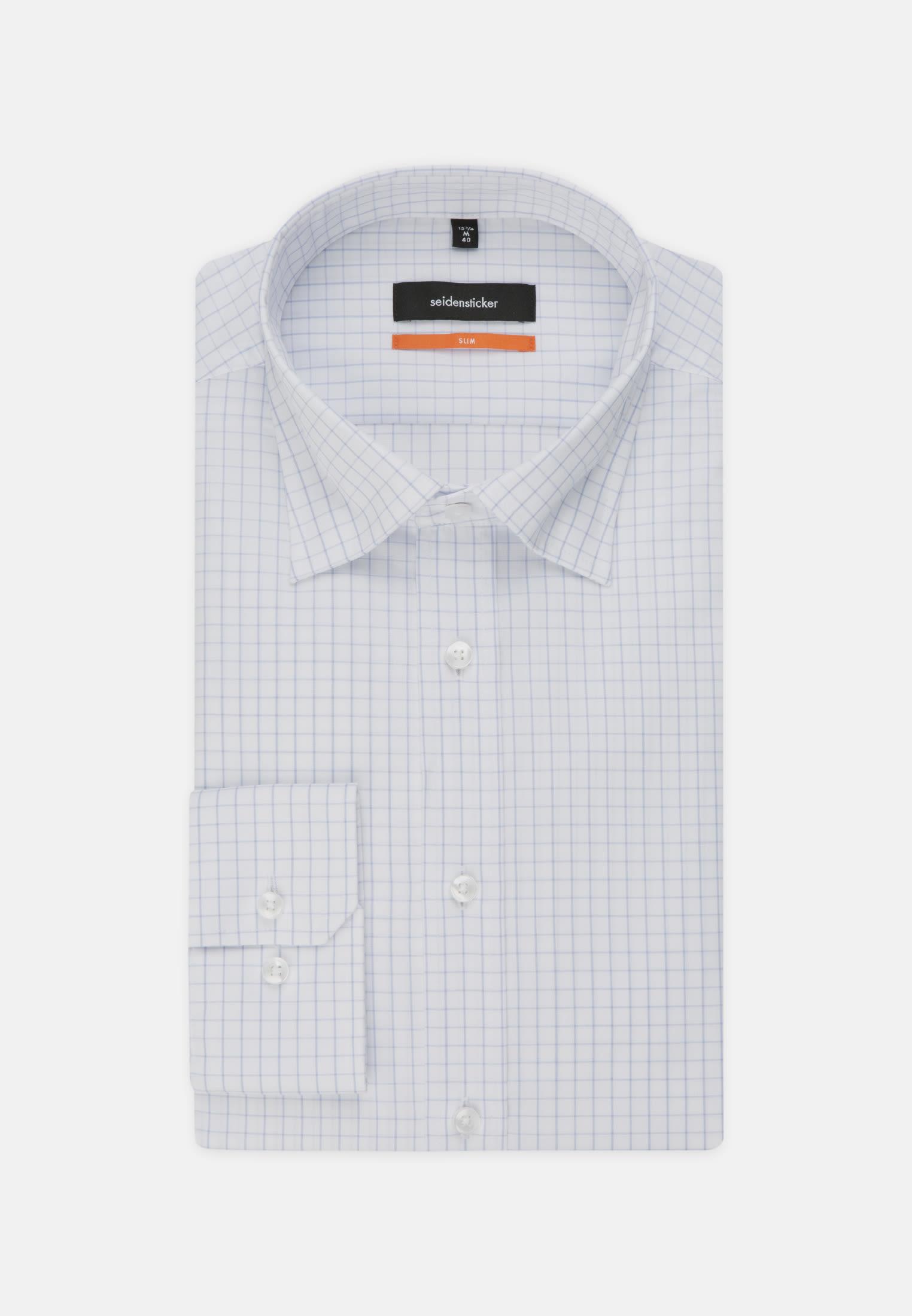 Non-iron Poplin Business Shirt in Slim with Covered-Button-Down-Collar in Light blue |  Seidensticker Onlineshop