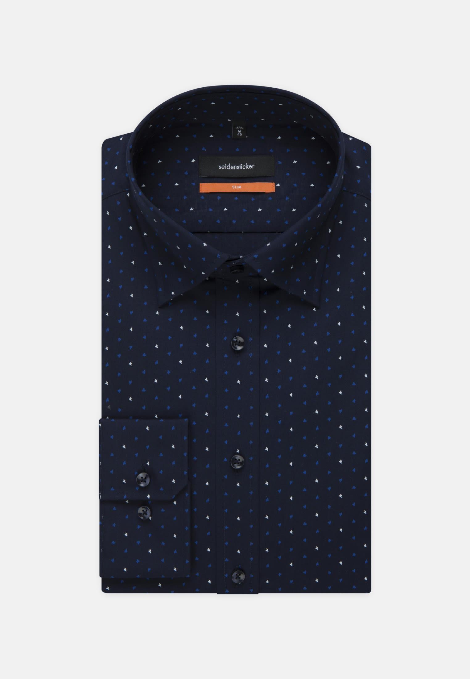 Easy-iron Poplin Business Shirt in Slim with Covered-Button-Down-Collar in blau |  Seidensticker Onlineshop