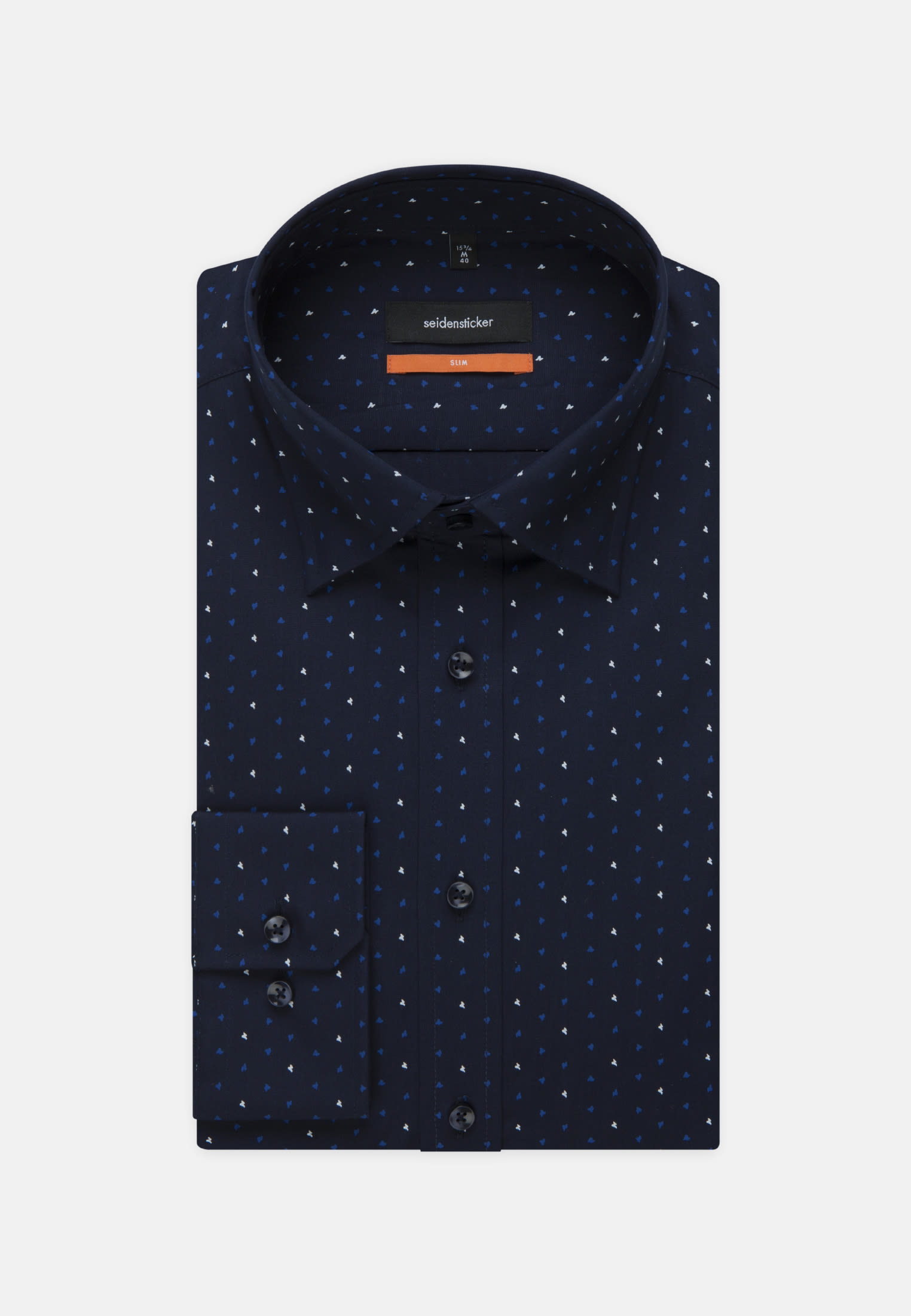 Easy-iron Poplin Business Shirt in Slim with Covered-Button-Down-Collar in Medium blue |  Seidensticker Onlineshop