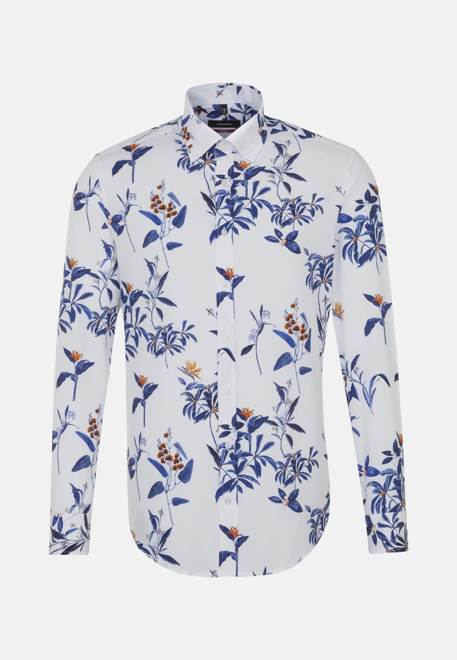Easy-iron Poplin Business Shirt in Modern with Button-Down-Collar in Dark blue |  Seidensticker Onlineshop