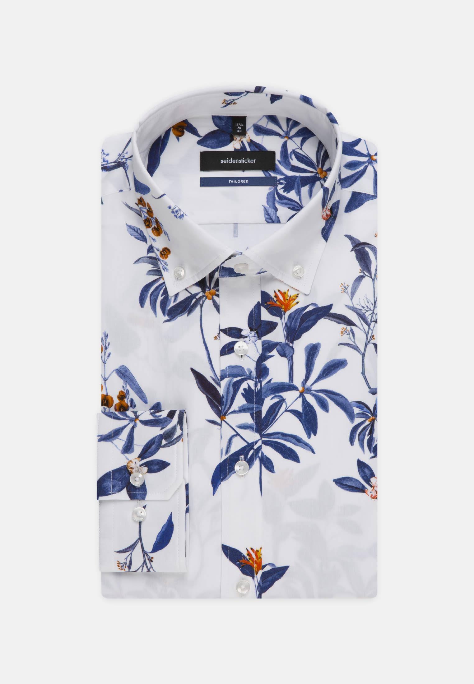 Easy-iron Poplin Business Shirt in Tailored with Button-Down-Collar in Dark blue |  Seidensticker Onlineshop