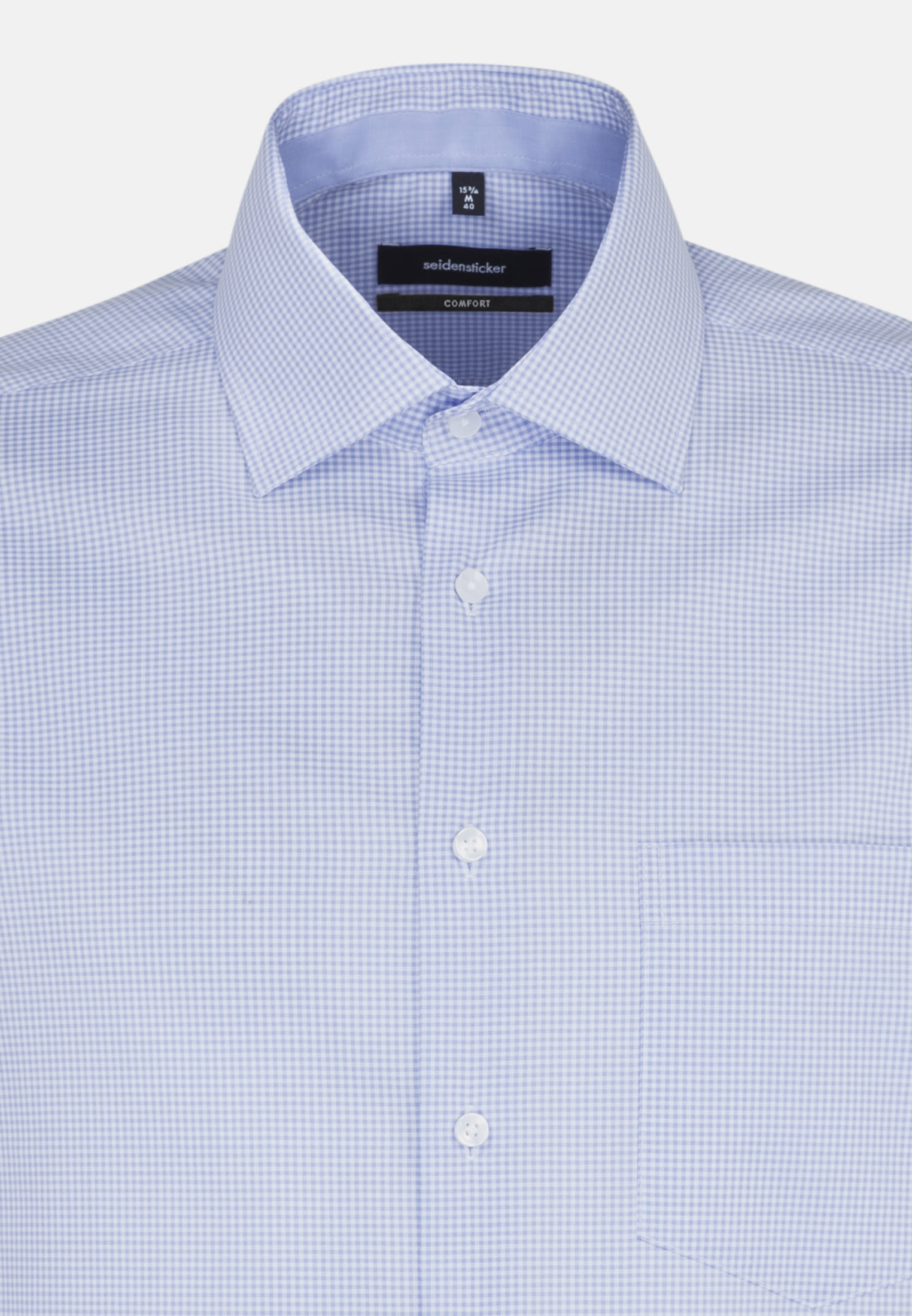 Non-iron Poplin Business Shirt in Comfort with Kent-Collar in Light blue |  Seidensticker Onlineshop