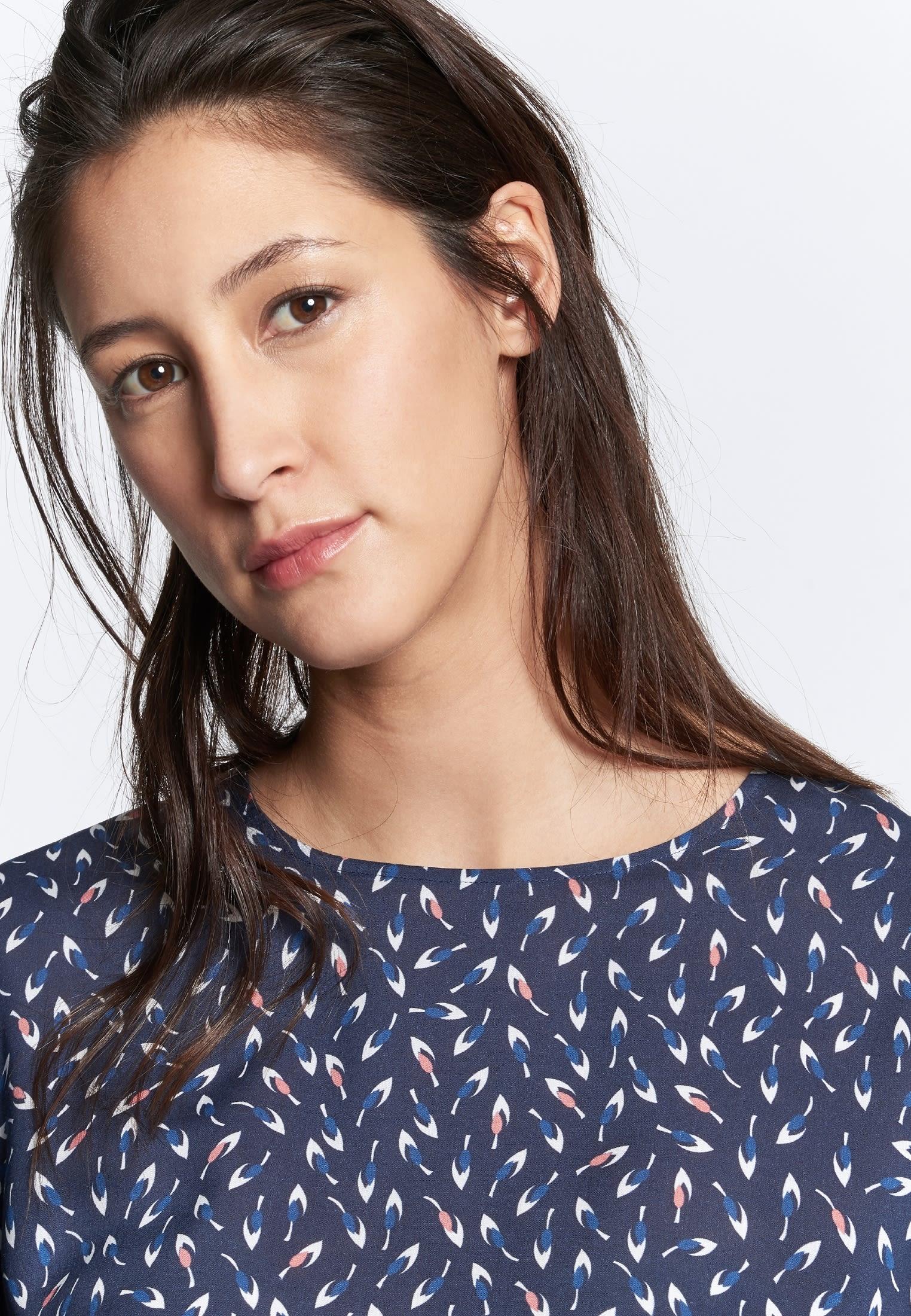 3/4 Arm Voile Shirtbluse aus 100% Viskose in Dunkelblau |  Seidensticker Onlineshop