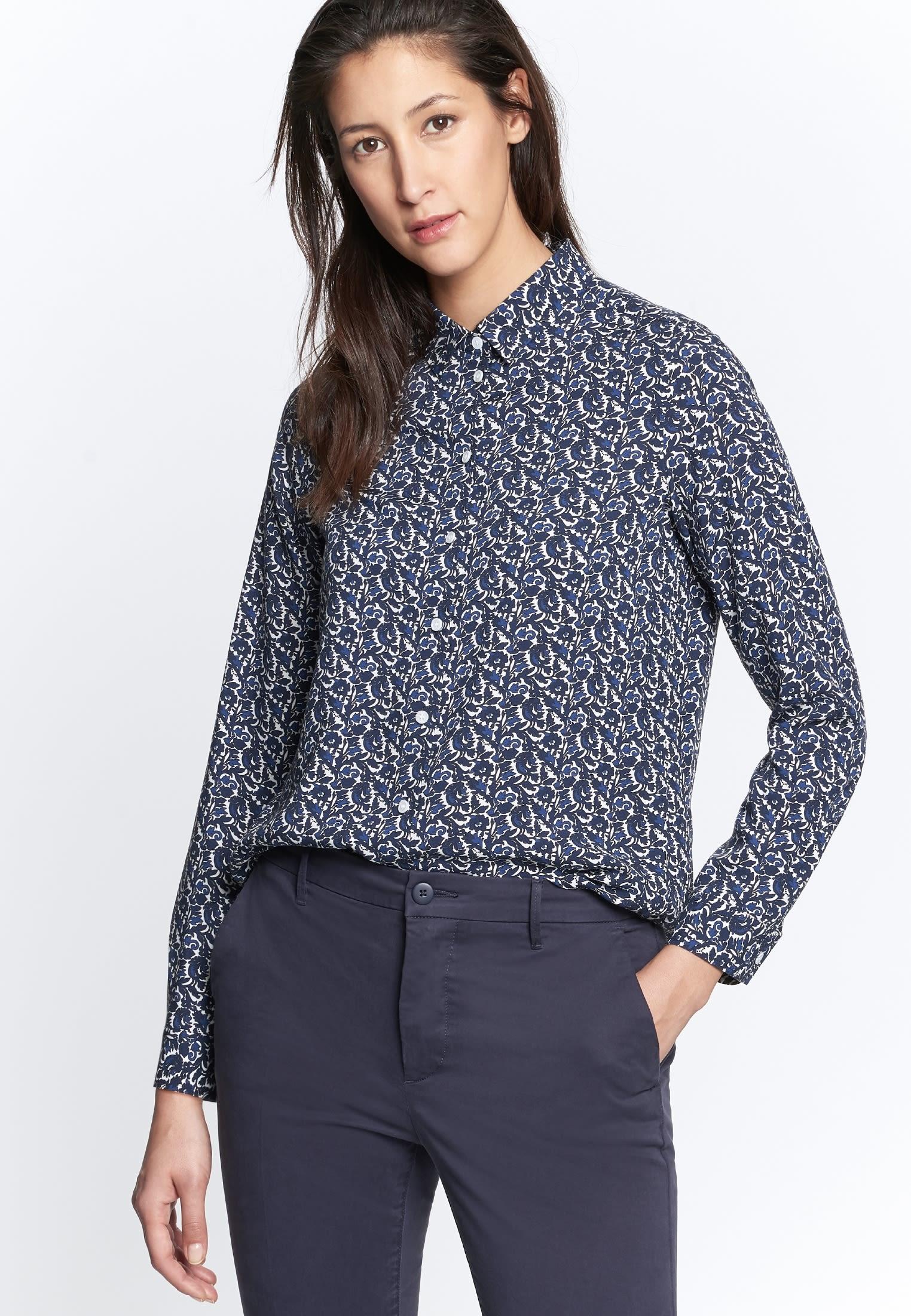 Poplin Shirt Blouse made of 100% Viscose in Medium blue    Seidensticker Onlineshop