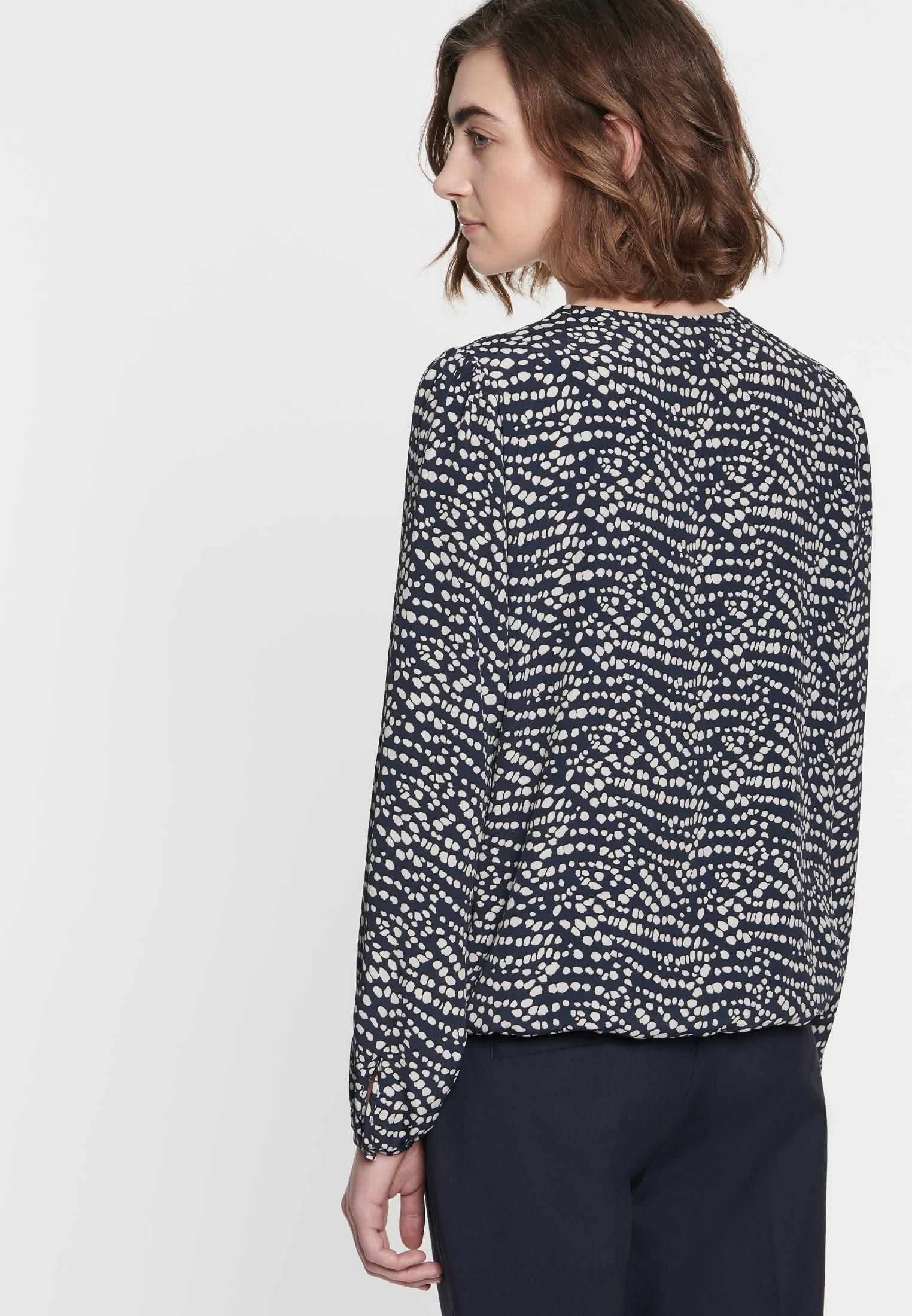 Krepp Shirtbluse aus 100% Viskose in Dunkelblau |  Seidensticker Onlineshop