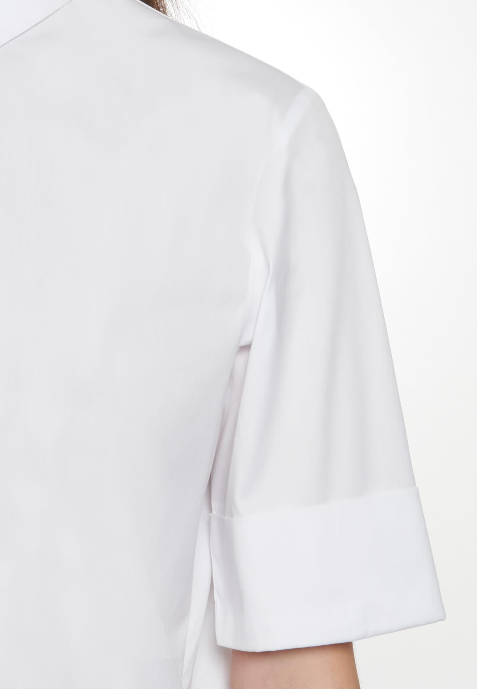 Short sleeve Poplin Shirt Blouse made of cotton blend in White |  Seidensticker Onlineshop