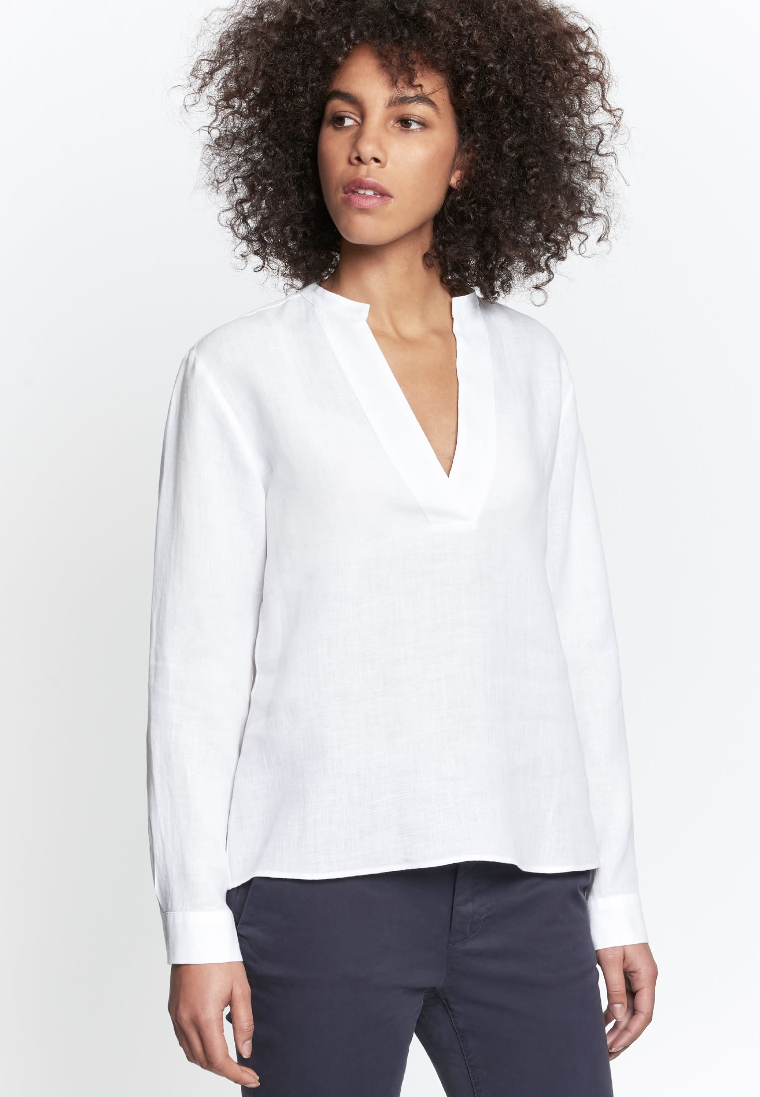 Linen Slip Over Blouse made of 100% Linen in White |  Seidensticker Onlineshop