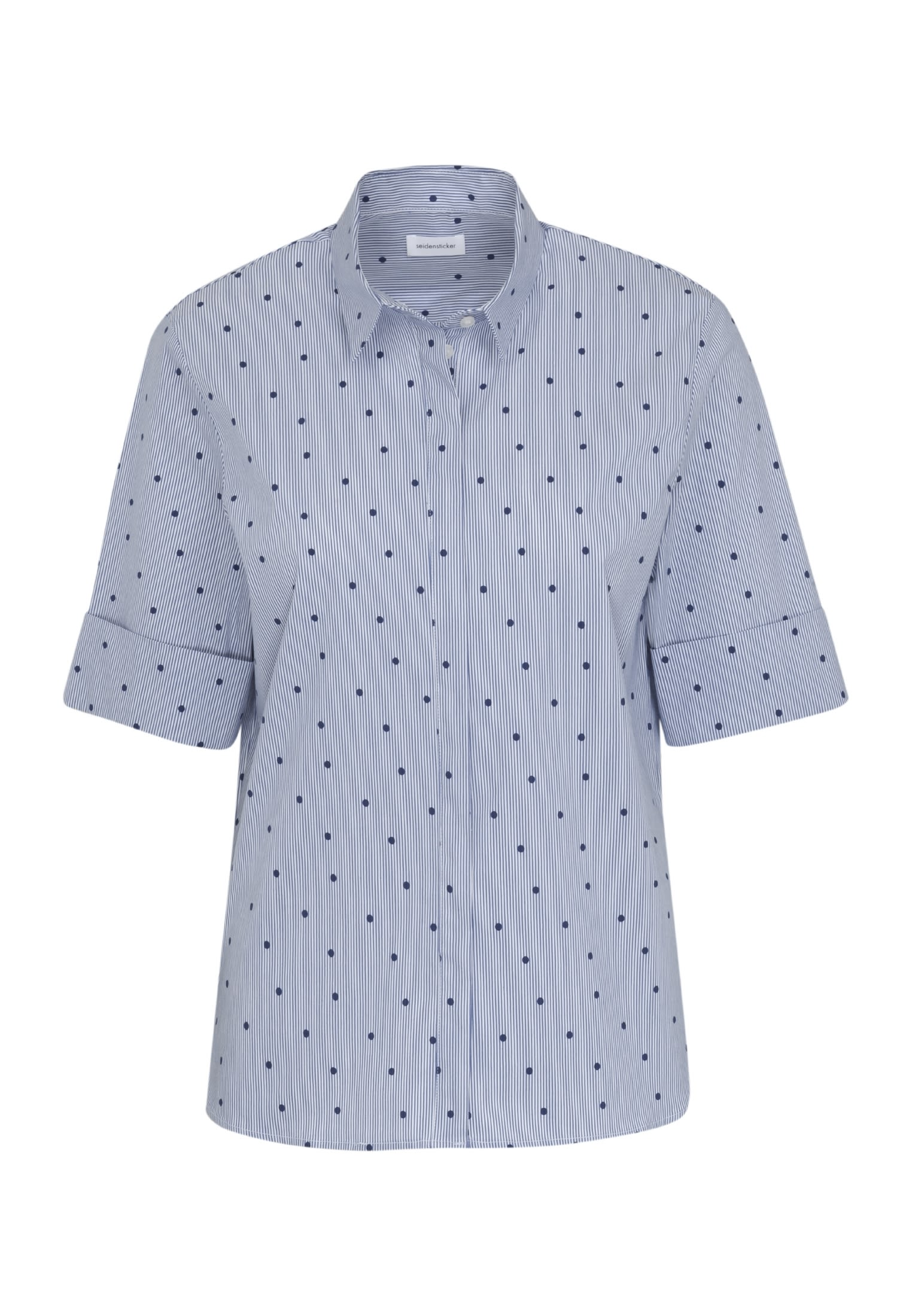Kurzarm Popeline Hemdbluse aus Baumwollmischung in Dunkelblau |  Seidensticker Onlineshop