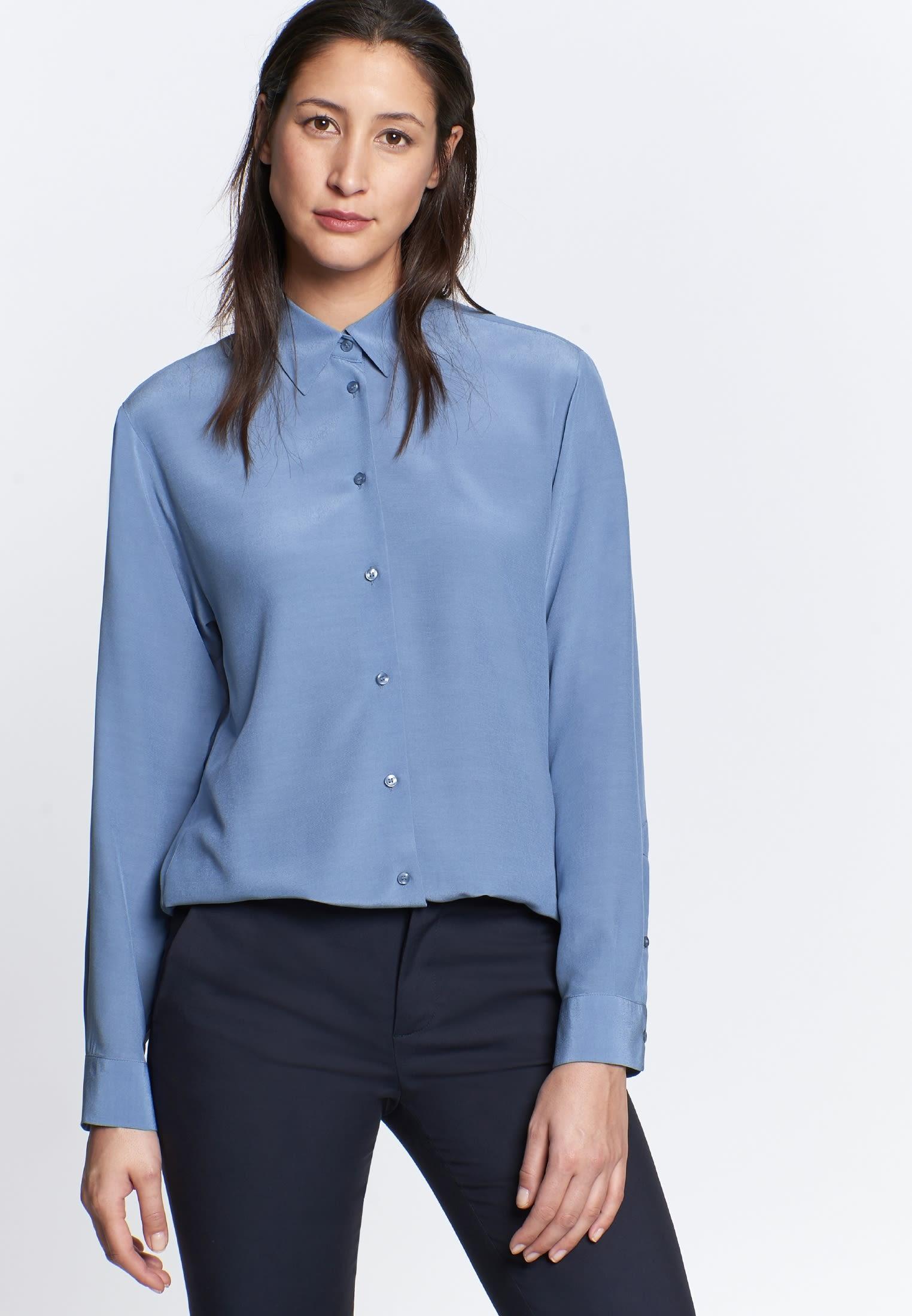 Crepe Shirt Blouse made of 100% Viskose in blau |  Seidensticker Onlineshop