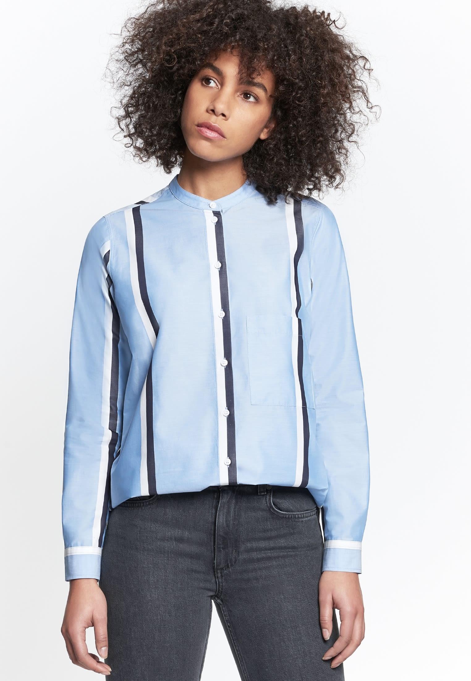 Structure Stand-Up Blouse made of 100% Cotton in blau |  Seidensticker Onlineshop