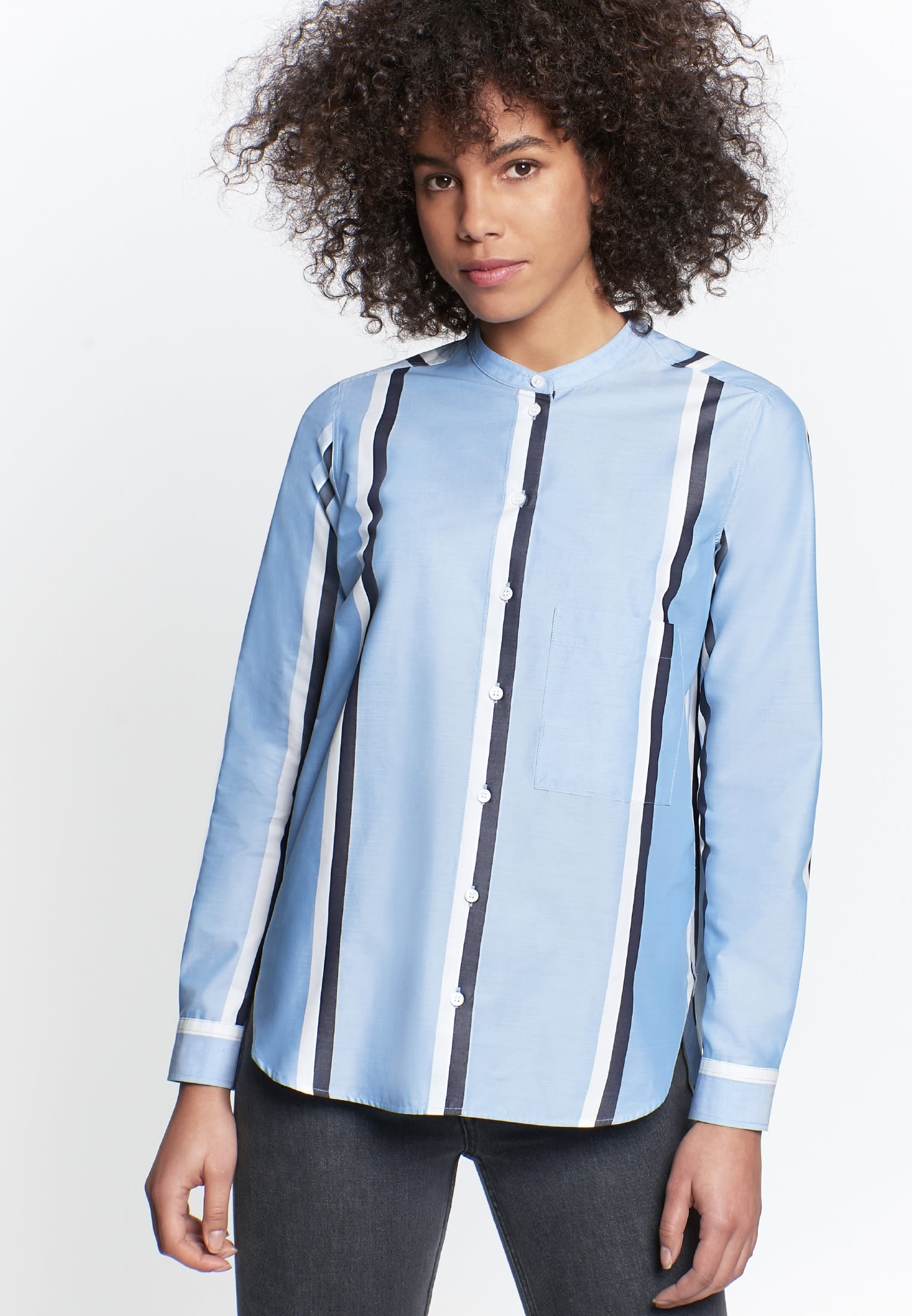 Structure Stand-Up Blouse made of 100% Cotton in Light blue |  Seidensticker Onlineshop