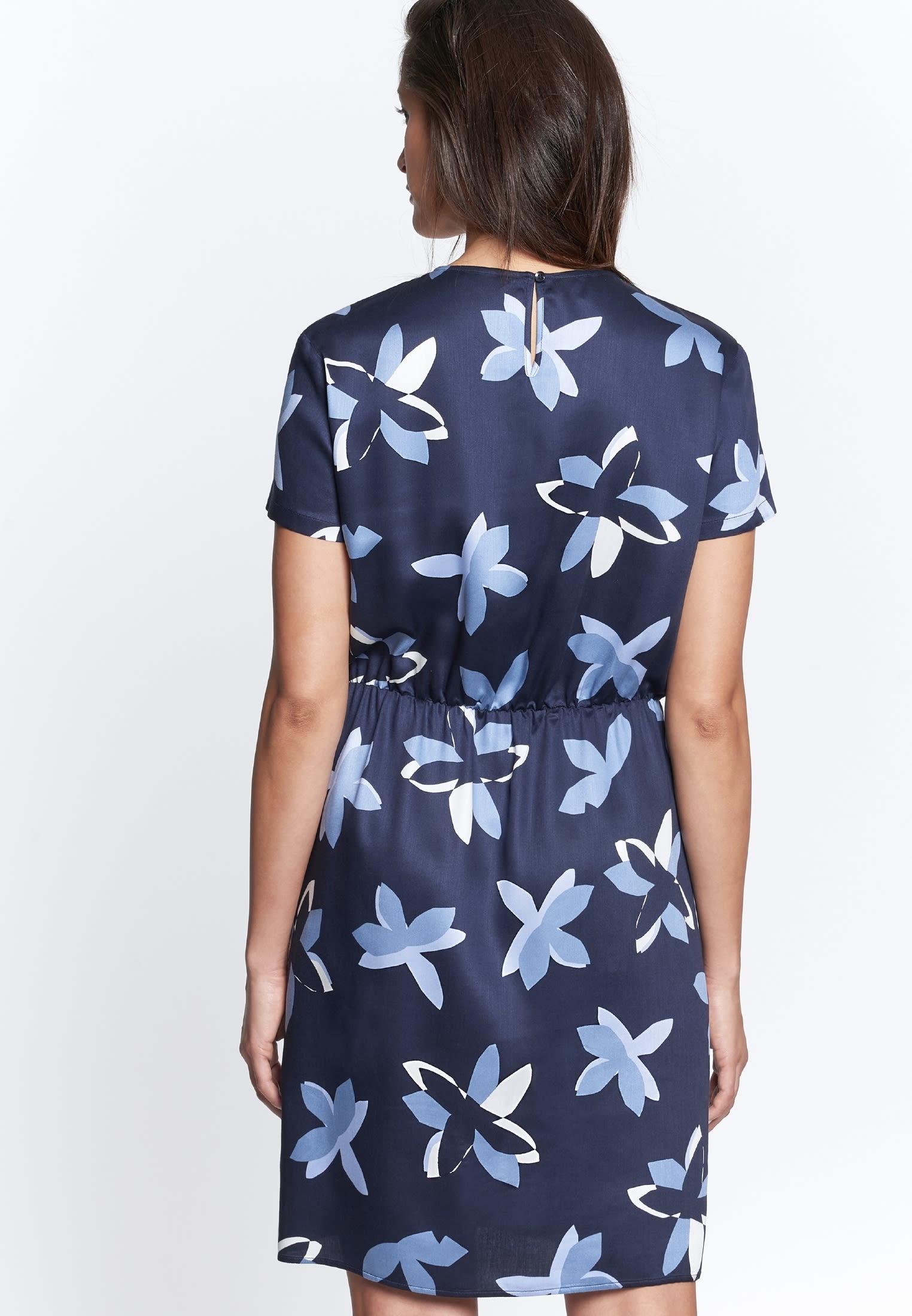 Kurzarm Voile Kleid aus 100% Viskose in Dunkelblau |  Seidensticker Onlineshop