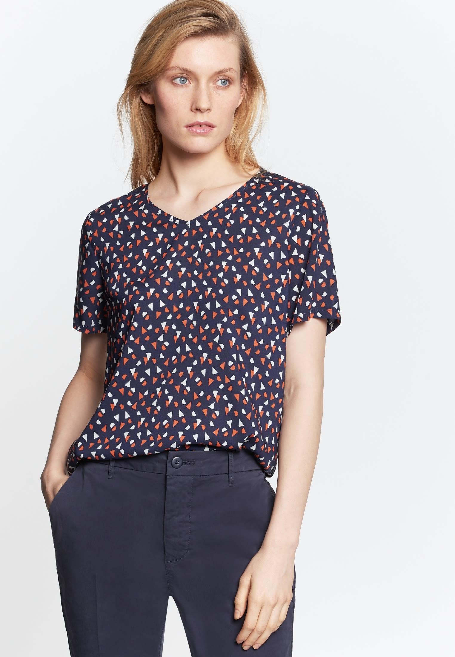 Kurzarm Popeline Shirtbluse aus 100% Viskose in Dunkelblau    Seidensticker Onlineshop
