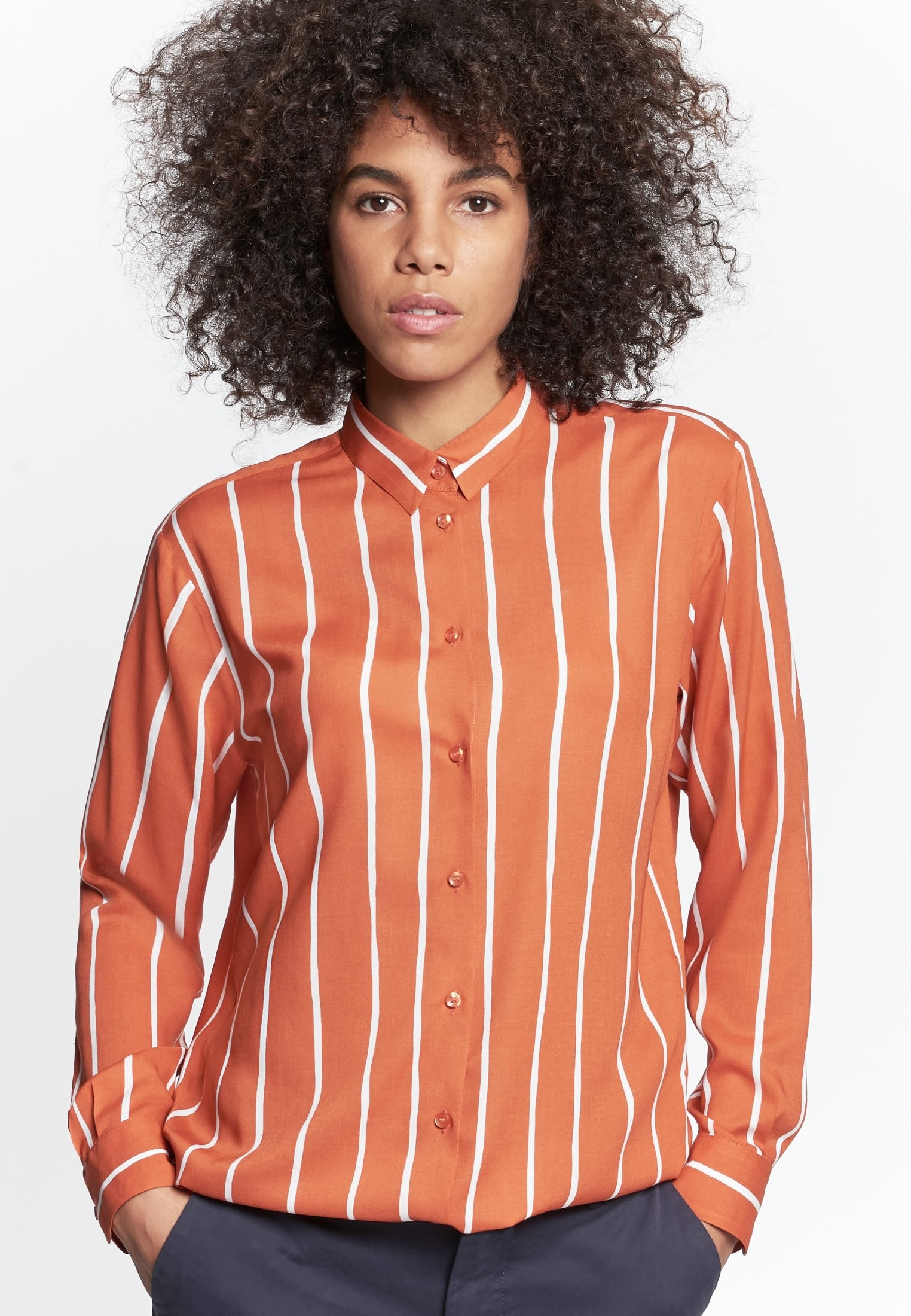 Poplin Shirt Blouse made of 100% Viscose in Orange |  Seidensticker Onlineshop