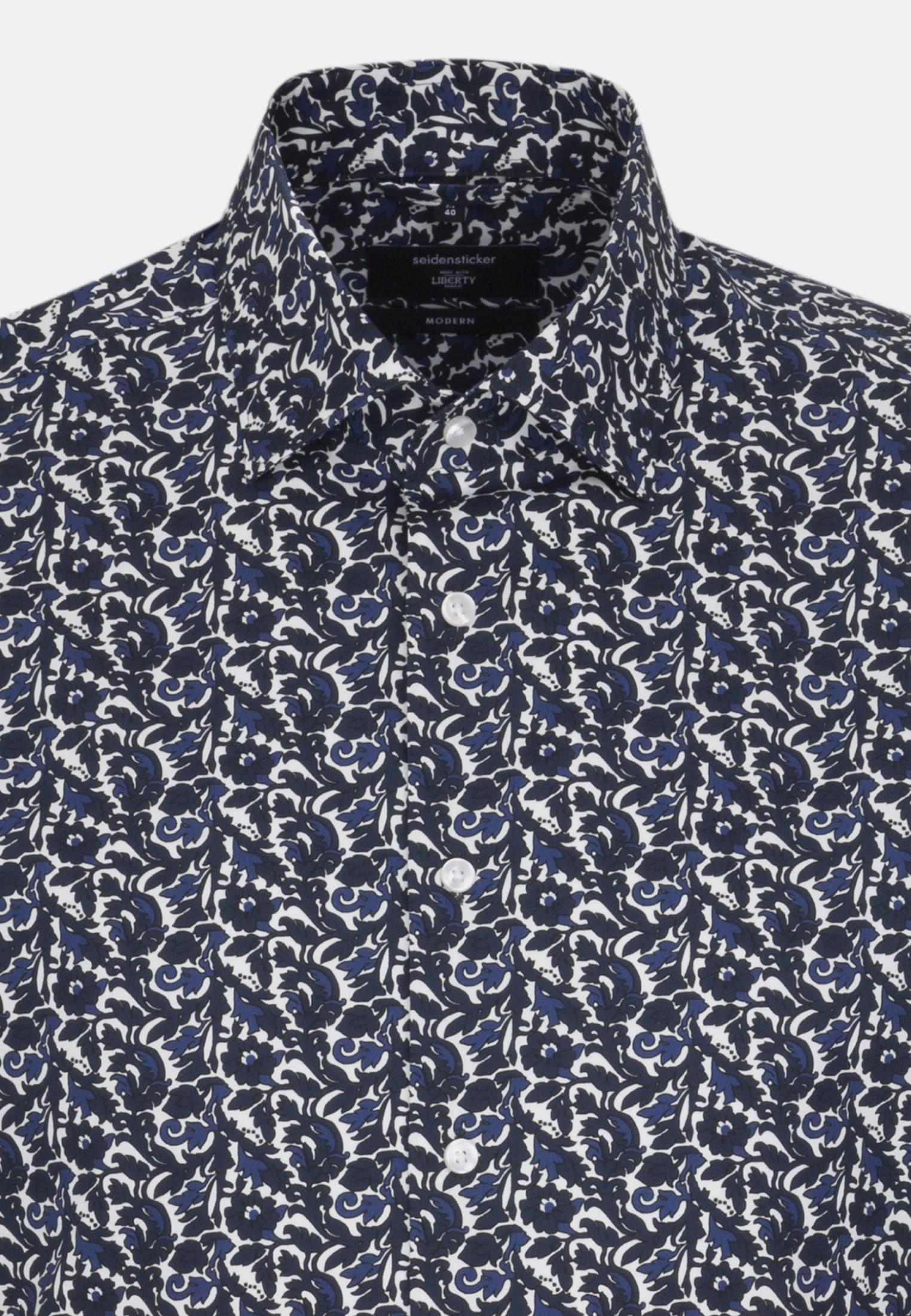 Easy-iron Poplin Business Shirt in Modern with Kent-Collar in Dark blue |  Seidensticker Onlineshop
