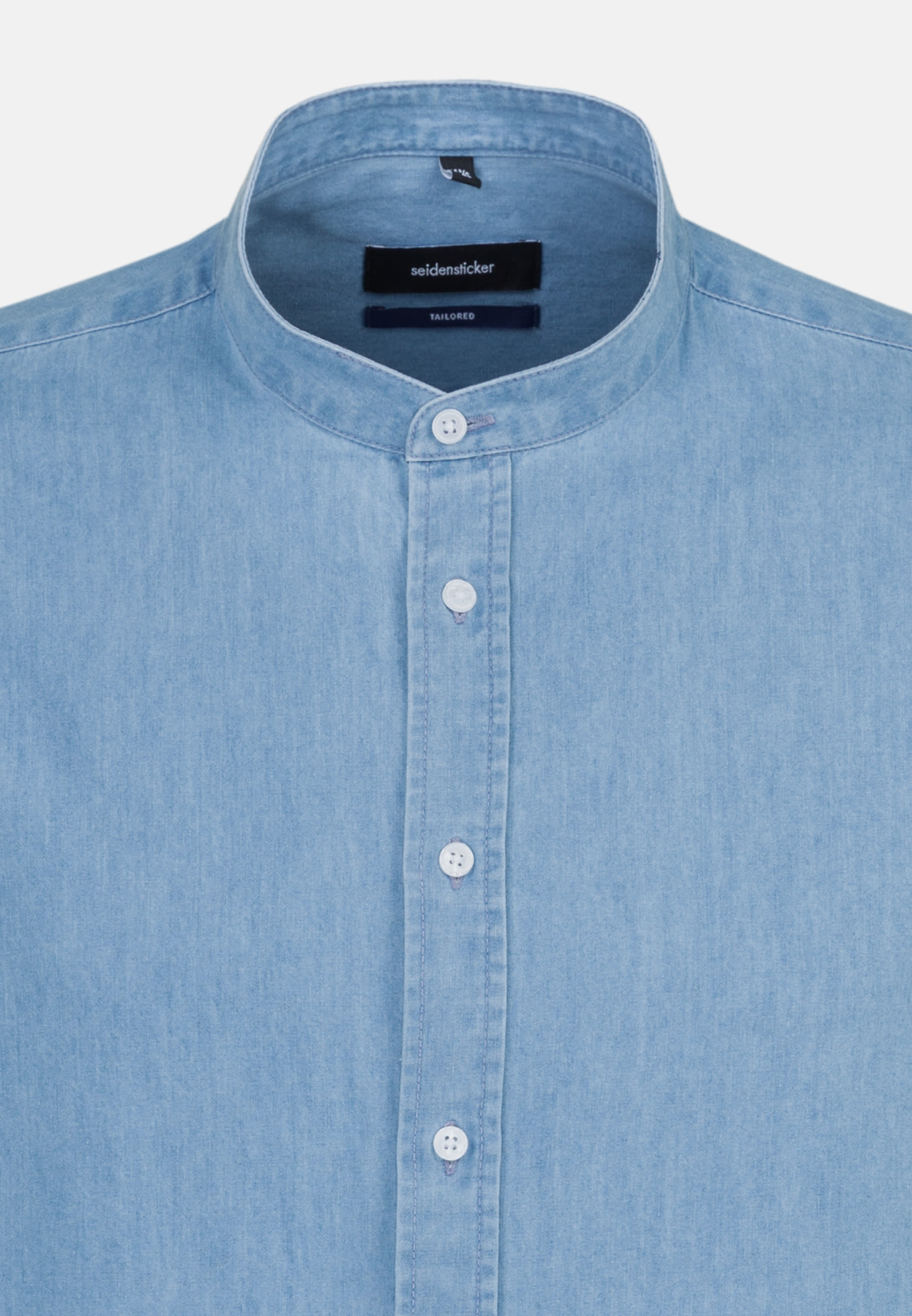Easy-iron Denim Business Shirt in Tailored with Stand-Up Collar in Light blue |  Seidensticker Onlineshop