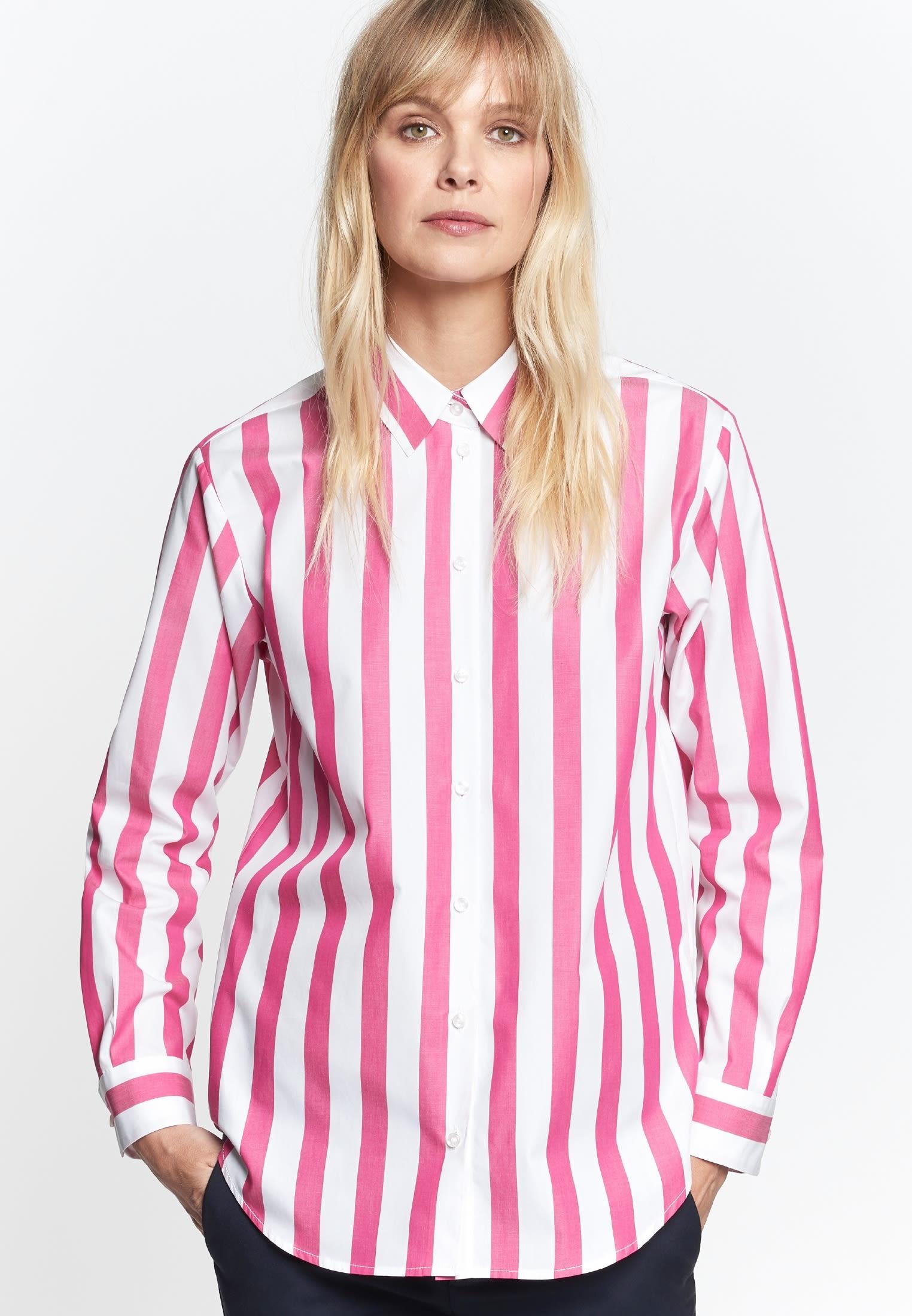 Satin Hemdbluse aus 100% Baumwolle in Rosa/Pink |  Seidensticker Onlineshop