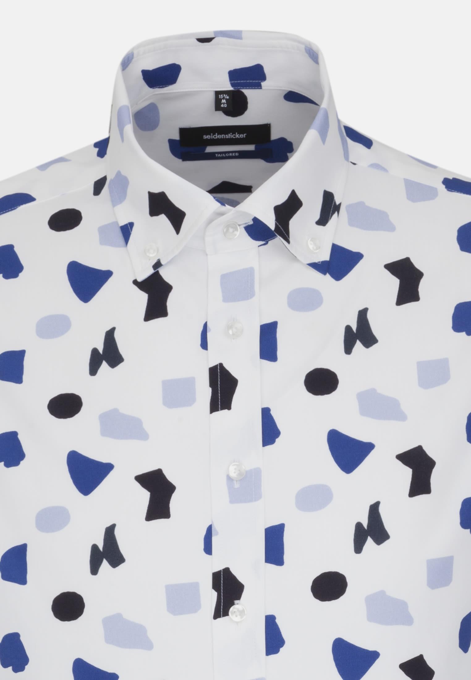 Easy-iron Poplin Business Shirt in Shaped with Button-Down-Collar in Dark blue    Seidensticker Onlineshop