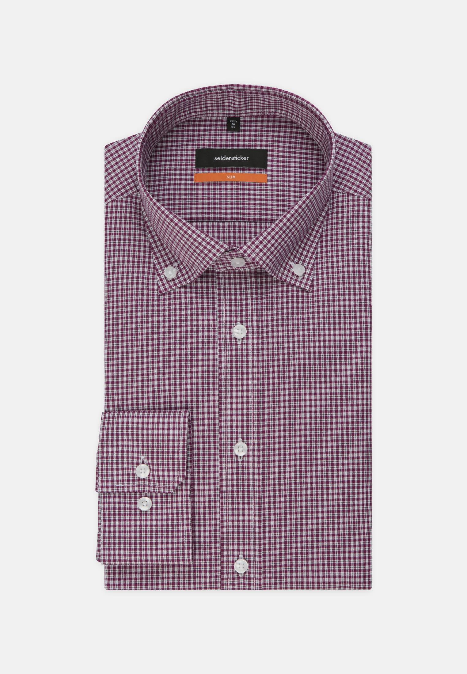 Bügelfreies Popeline Business Hemd in Slim mit Button-Down-Kragen in Lila    Seidensticker Onlineshop