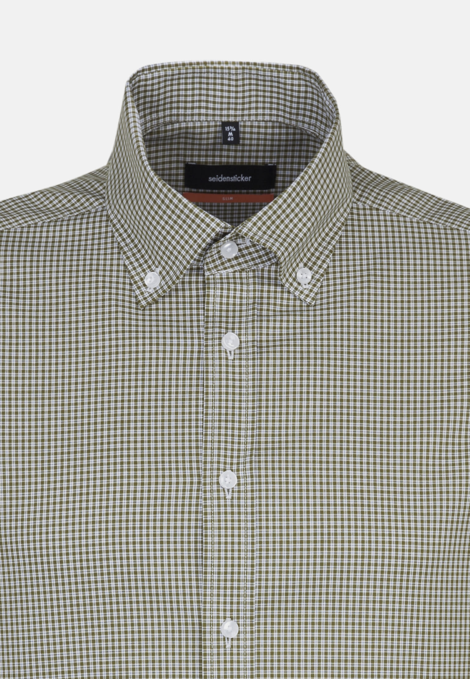 Non-iron Poplin Business Shirt in Slim with Button-Down-Collar in grün |  Seidensticker Onlineshop