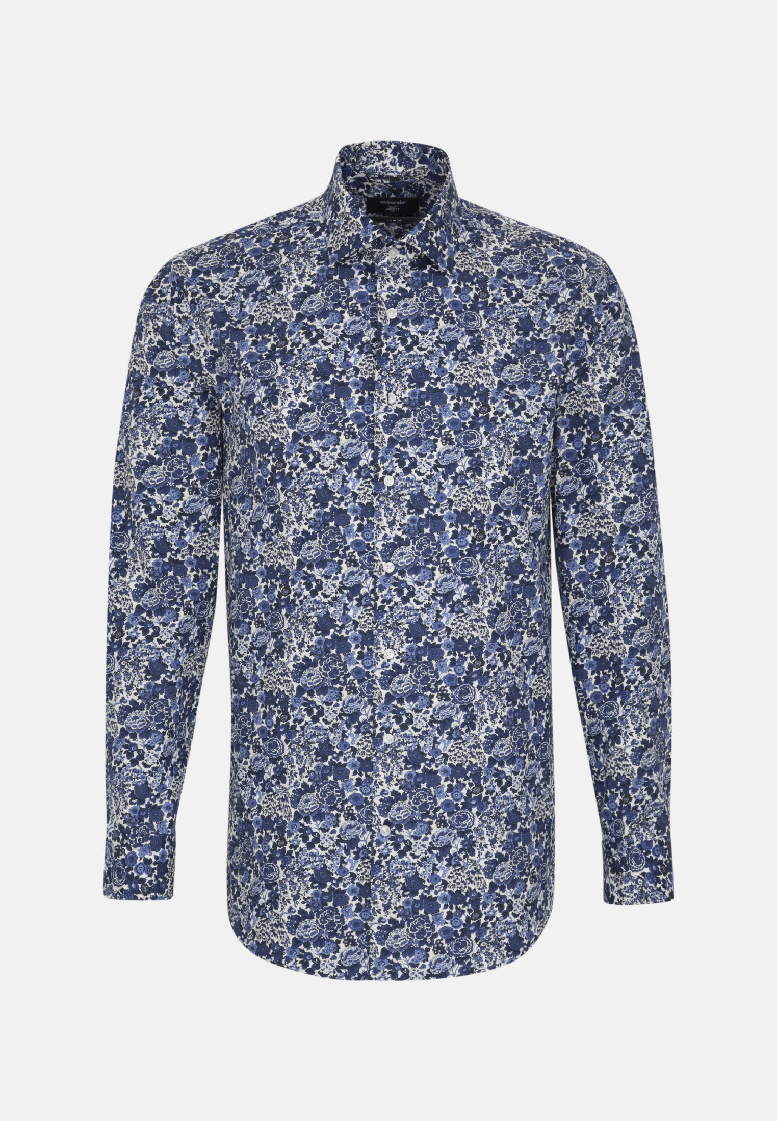 Easy-iron Poplin Business Shirt in Comfort with Kent-Collar in Medium blue |  Seidensticker Onlineshop
