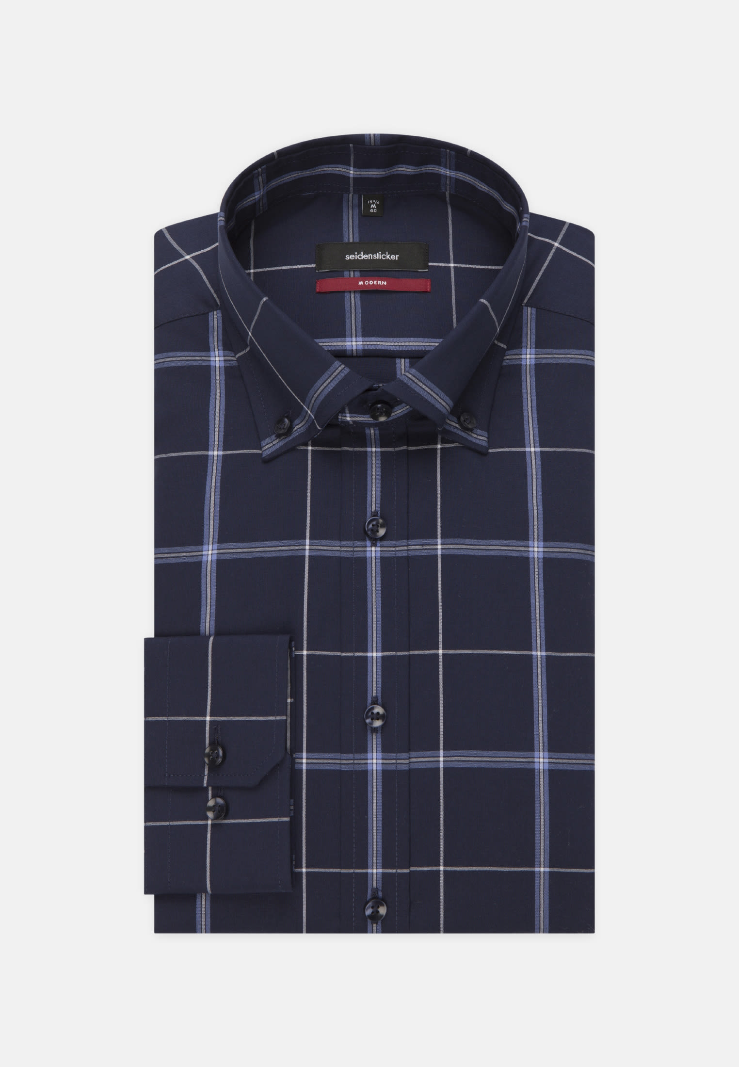 Non-iron Poplin Business Shirt in Regular with Button-Down-Collar in Dark blue |  Seidensticker Onlineshop